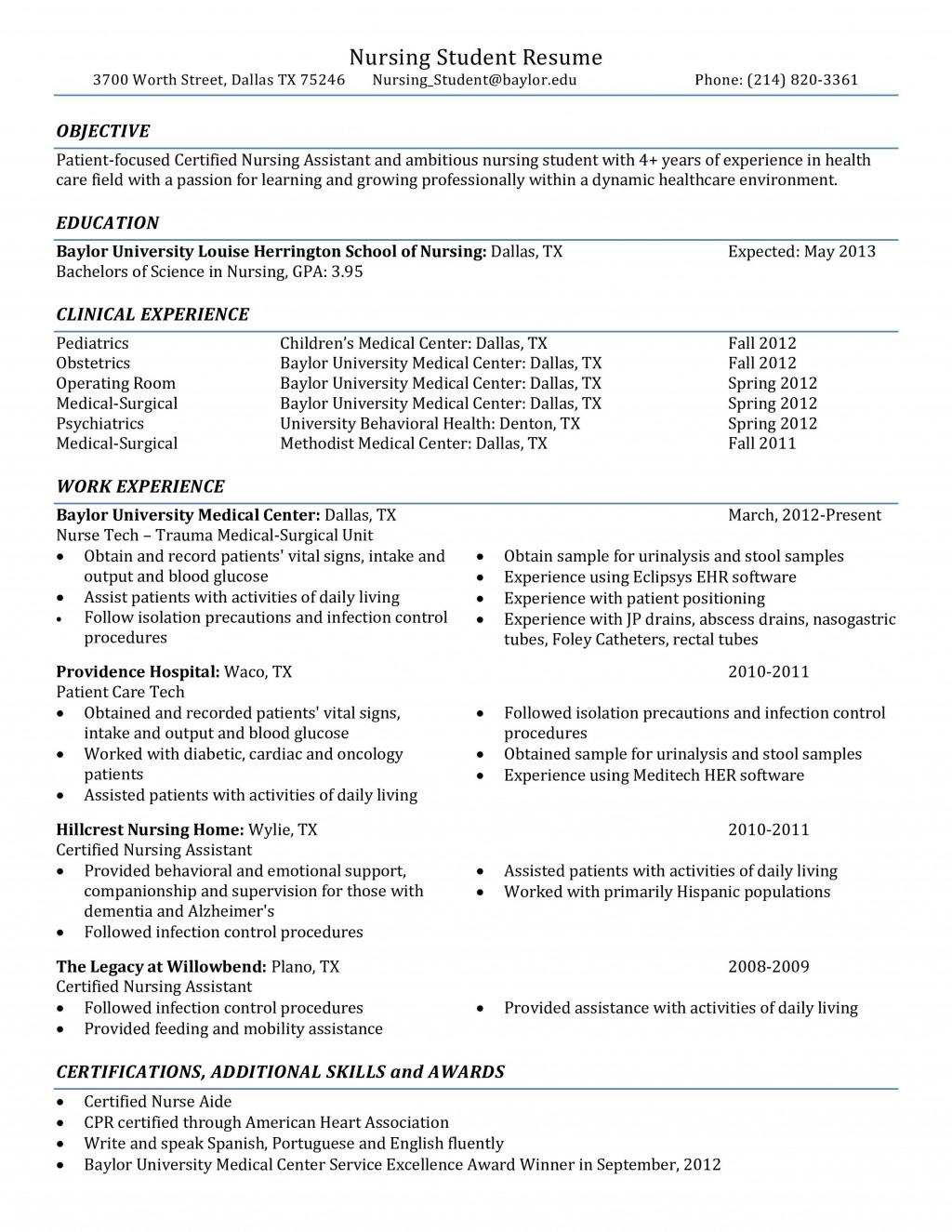 001 Rare Nursing Student Resume Template Example  Free WordLarge