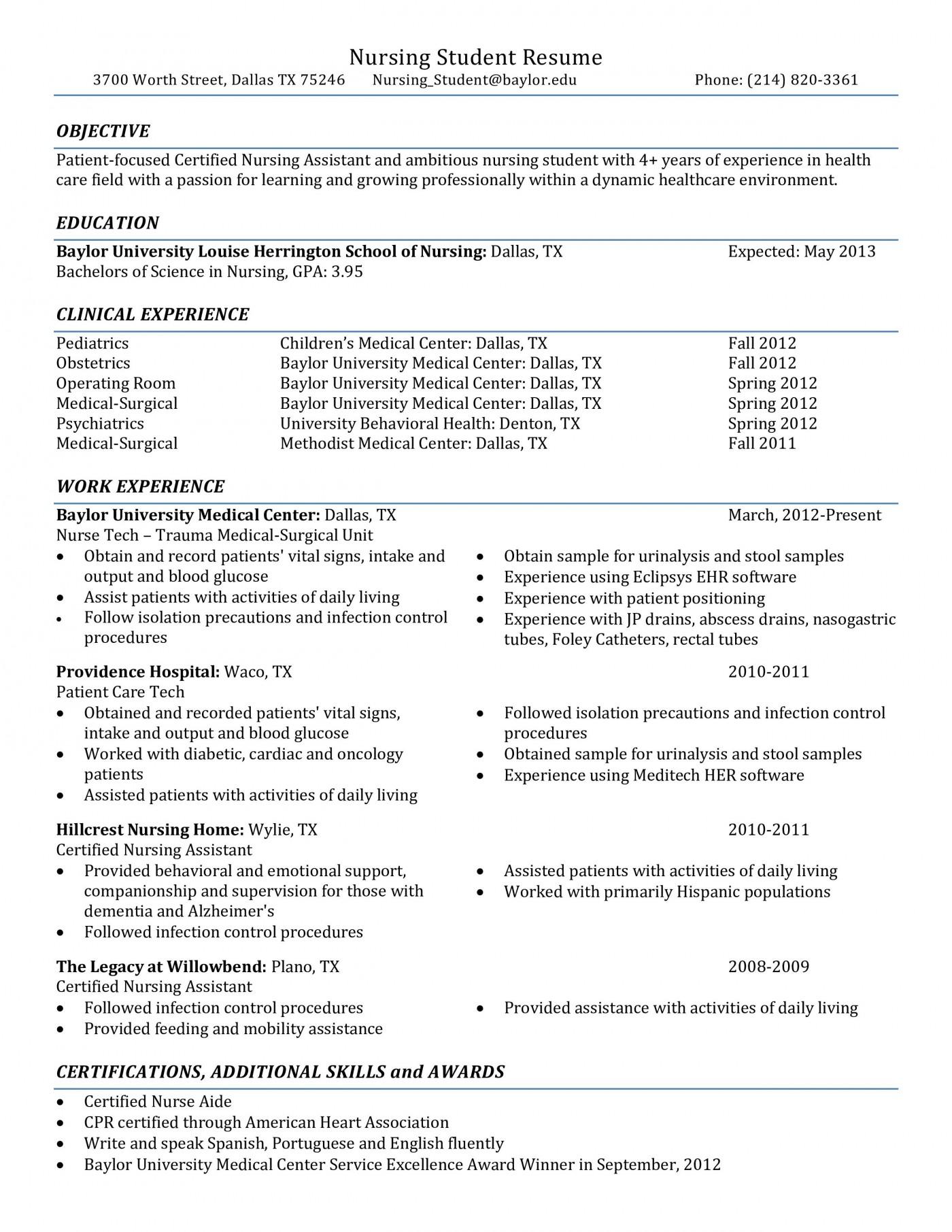 001 Rare Nursing Student Resume Template Example  Free Word1400