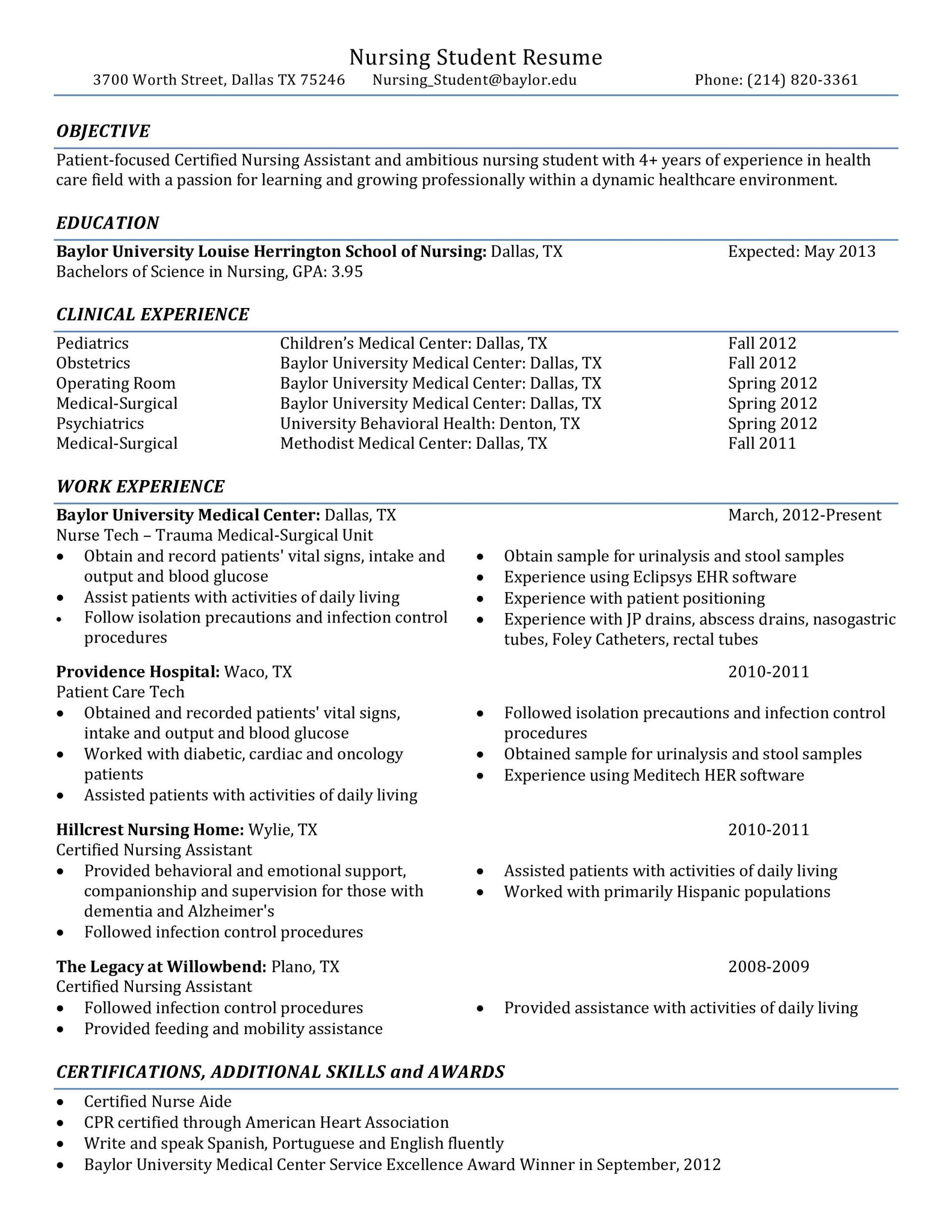 001 Rare Nursing Student Resume Template Example  Free Word1920