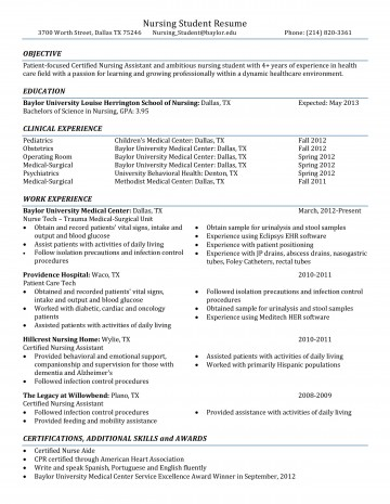 001 Rare Nursing Student Resume Template Example  Free Word360