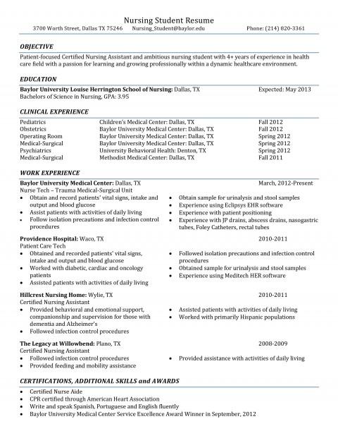 001 Rare Nursing Student Resume Template Example  Free Word480