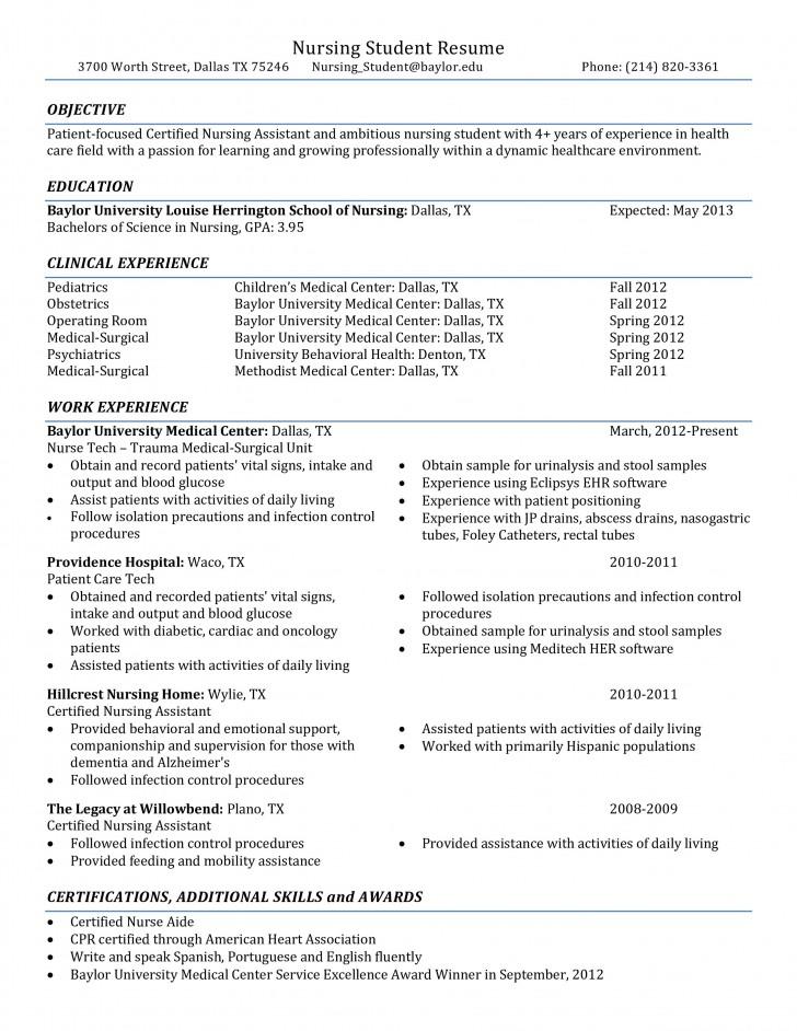 001 Rare Nursing Student Resume Template Example  Free Word728