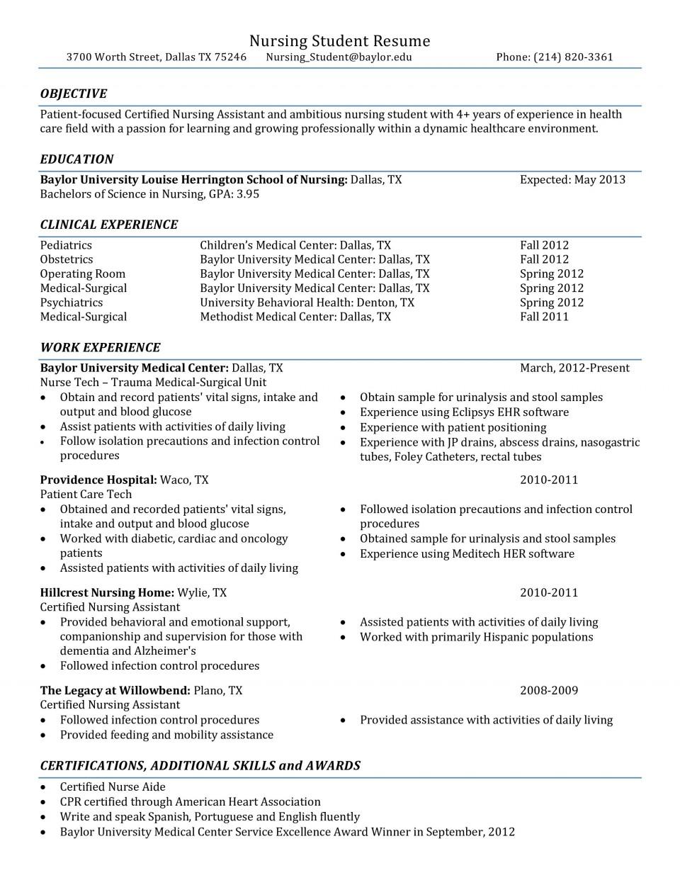 001 Rare Nursing Student Resume Template Example  Free Word960
