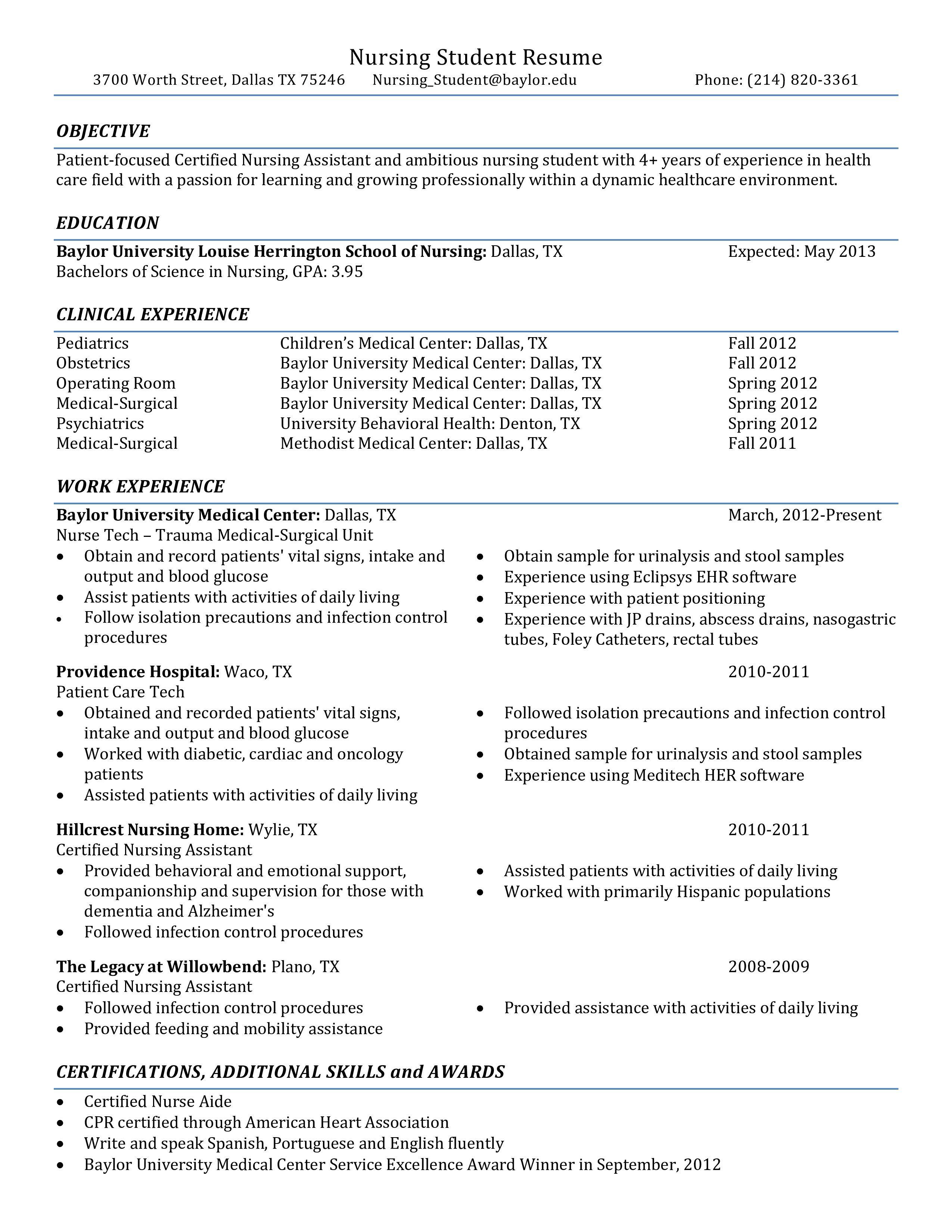 001 Rare Nursing Student Resume Template Example  Free WordFull