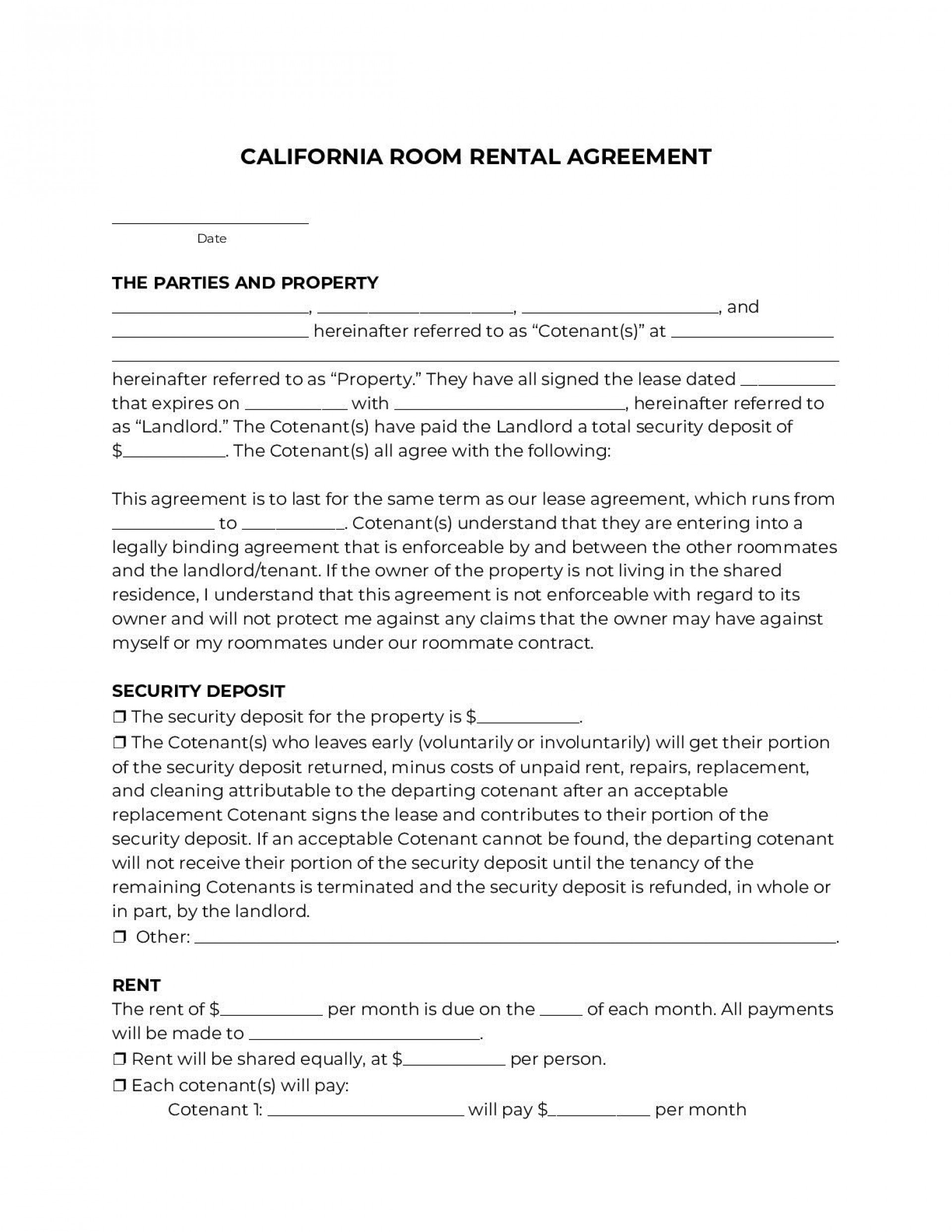 001 Rare Room Rental Agreement Simple Form Sample  Template Word Doc Rent Format In Free Uk1920