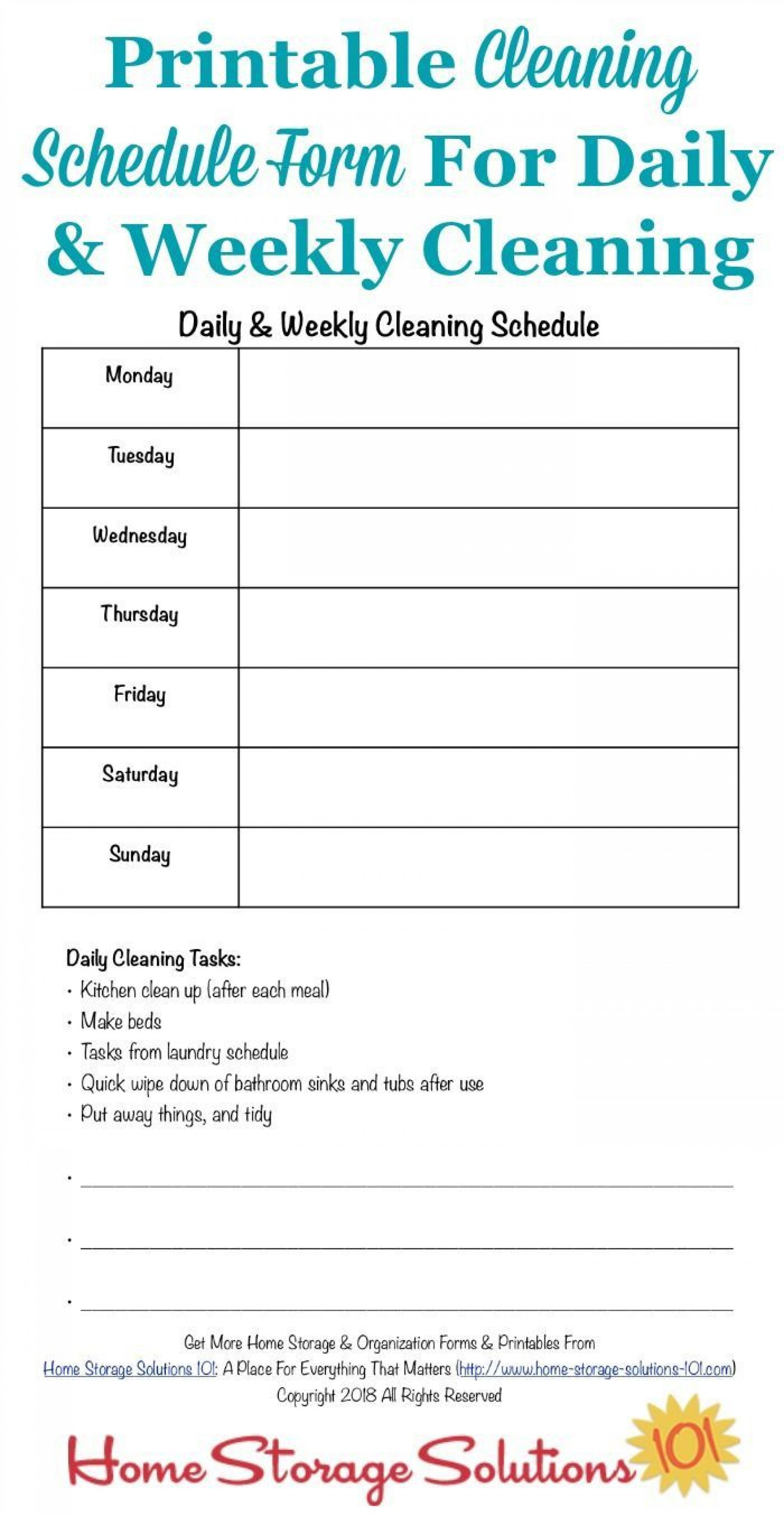 001 Rare Weekly Cleaning Schedule Form Highest Quality  Template Restaurant Excel1920