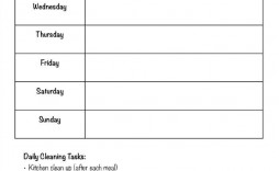 001 Rare Weekly Cleaning Schedule Form Highest Quality  Template Restaurant Excel