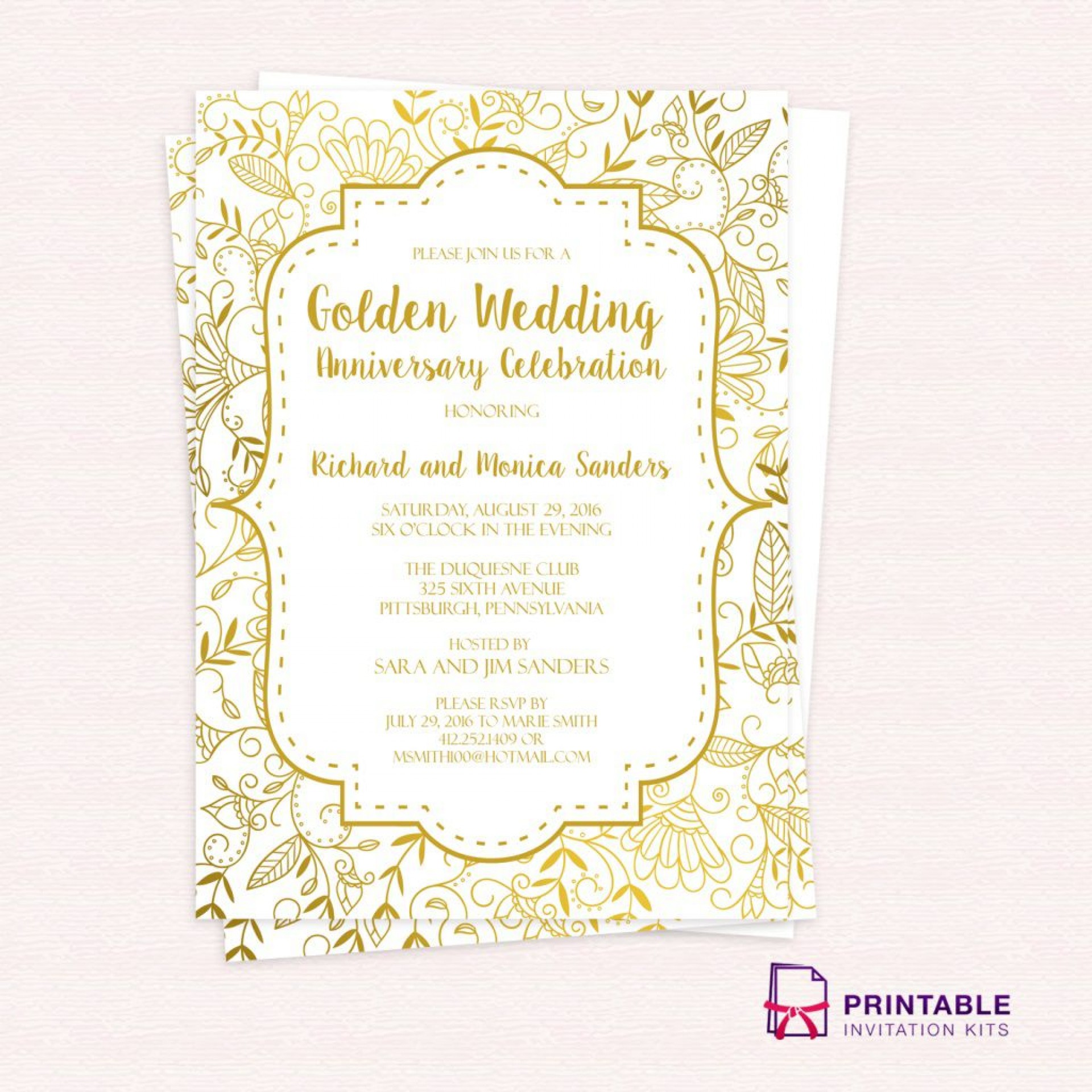001 Remarkable 50th Anniversary Invitation Template Photo  Templates Wedding Free Download Golden1920