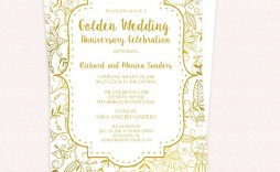 001 Remarkable 50th Anniversary Invitation Template Photo  Templates Wedding Free Download Golden