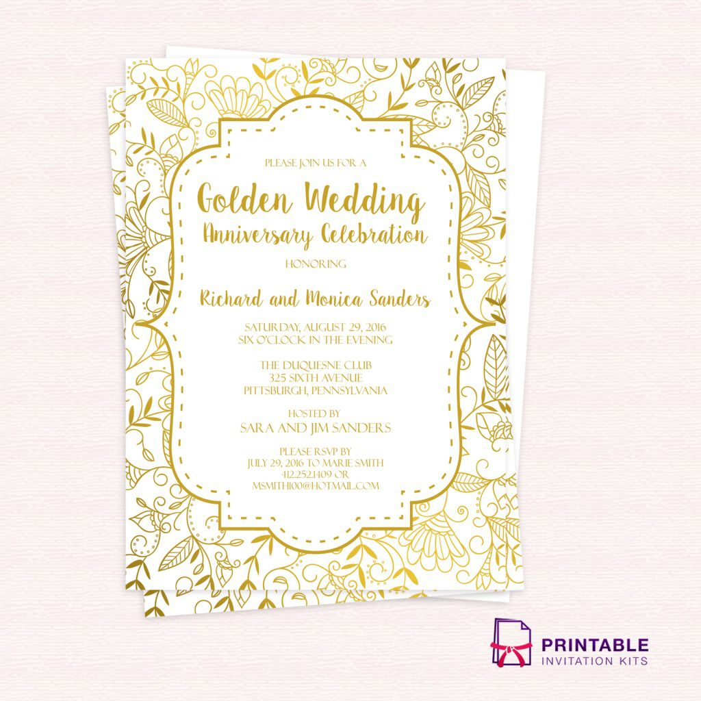 001 Remarkable 50th Anniversary Invitation Template Photo  Templates Wedding Free Download GoldenFull