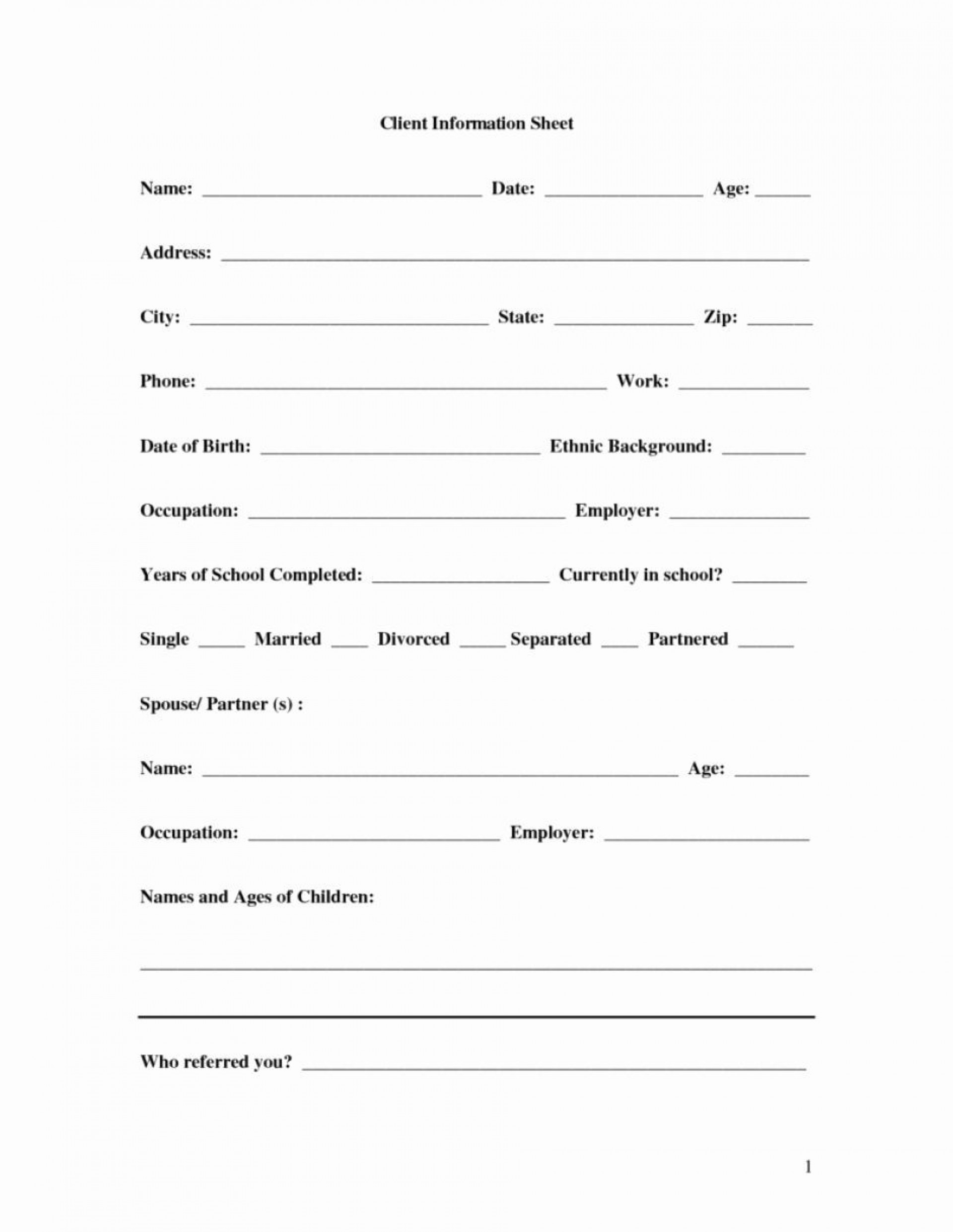 001 Remarkable Client Information Form Template Free Download High Resolution 1920