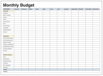 001 Remarkable Excel Monthly Budget Template High Def  South Africa360
