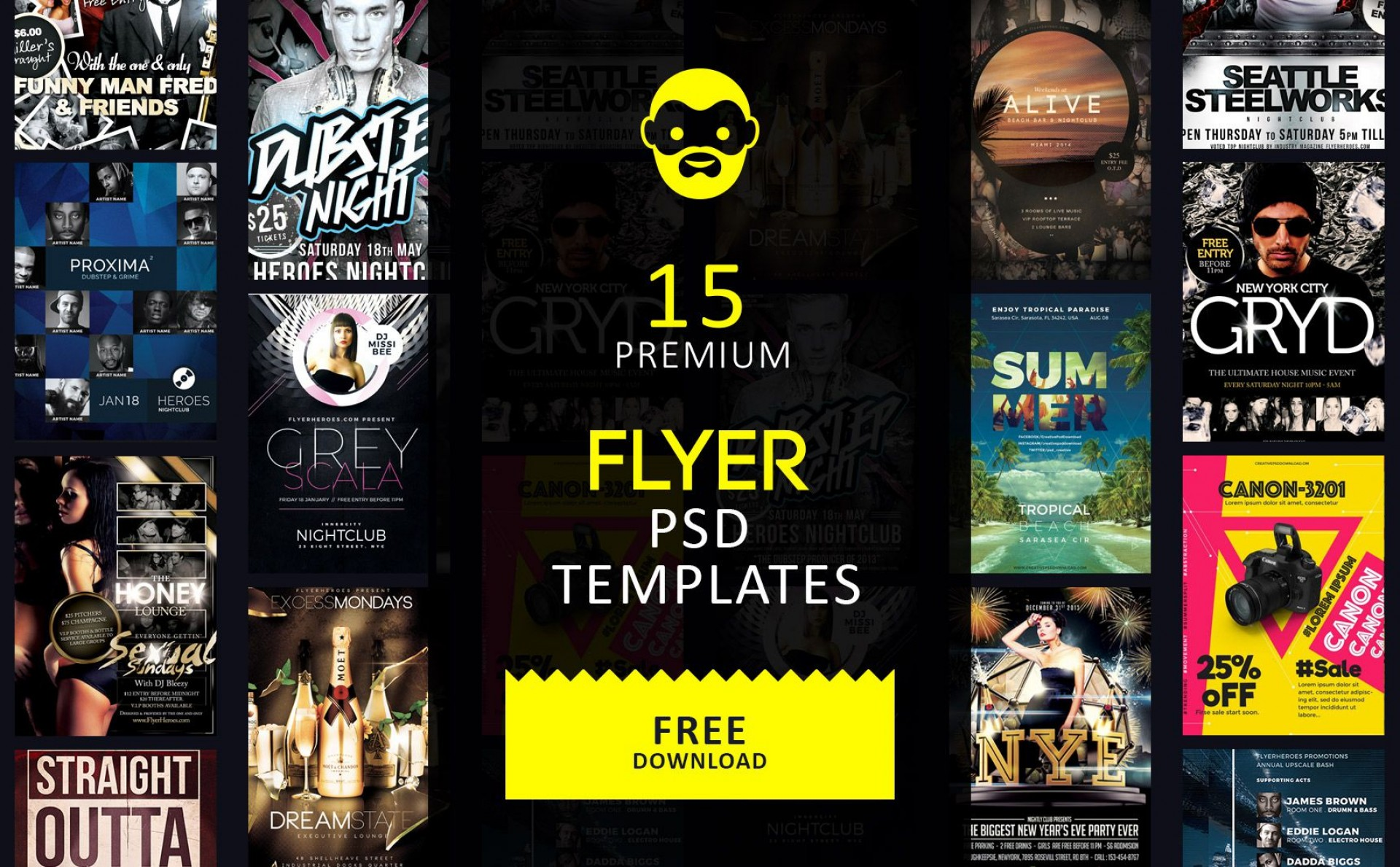 001 Remarkable Free Party Flyer Psd Template Download Highest Quality  - Neon Glow1920