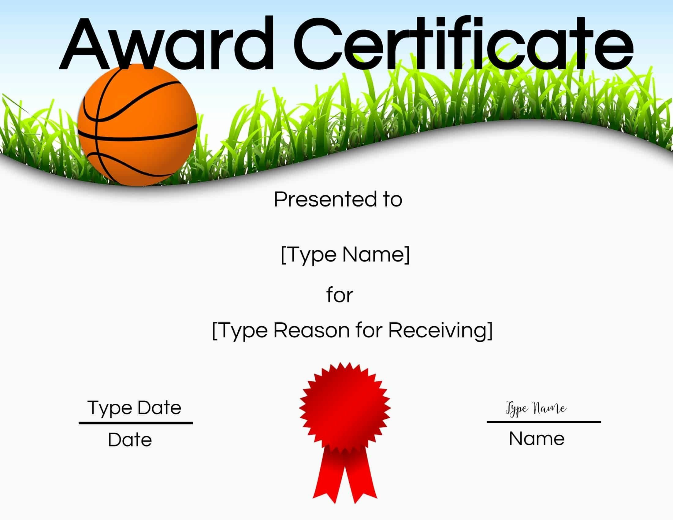 001 Remarkable Free Printable Basketball Certificate Template Idea  TemplatesFull