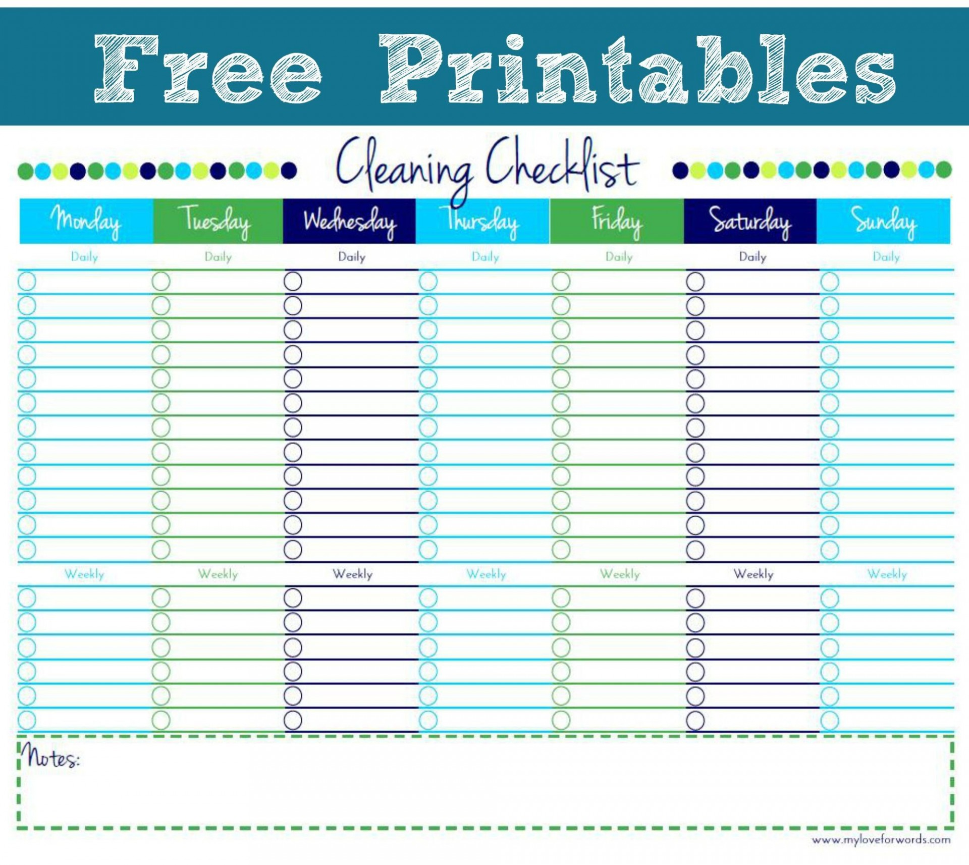 001 Remarkable Free Printable Weekly Cleaning Schedule Template Photo  Office1920