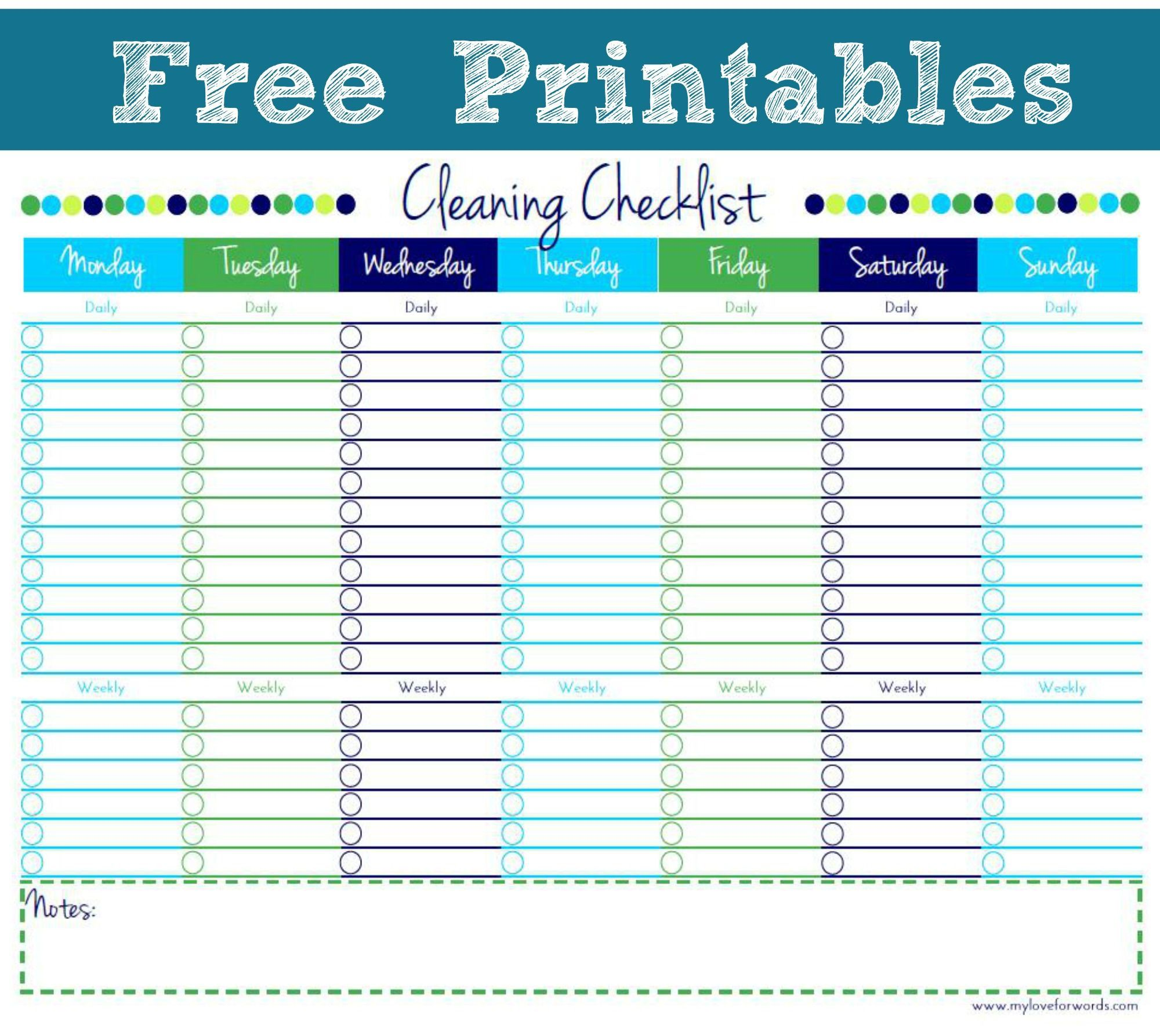 001 Remarkable Free Printable Weekly Cleaning Schedule Template Photo  OfficeFull