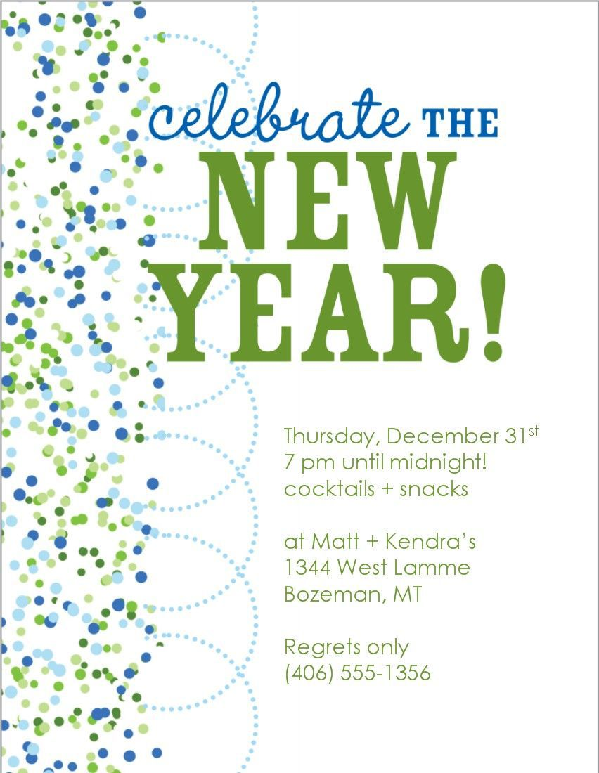 New Year Eve Invitation Template Sample