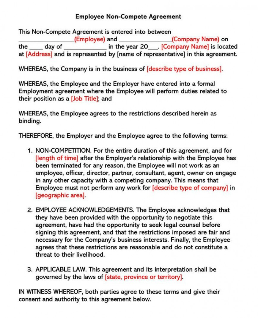 001 Remarkable Non Compete Agreement Template California Design 868