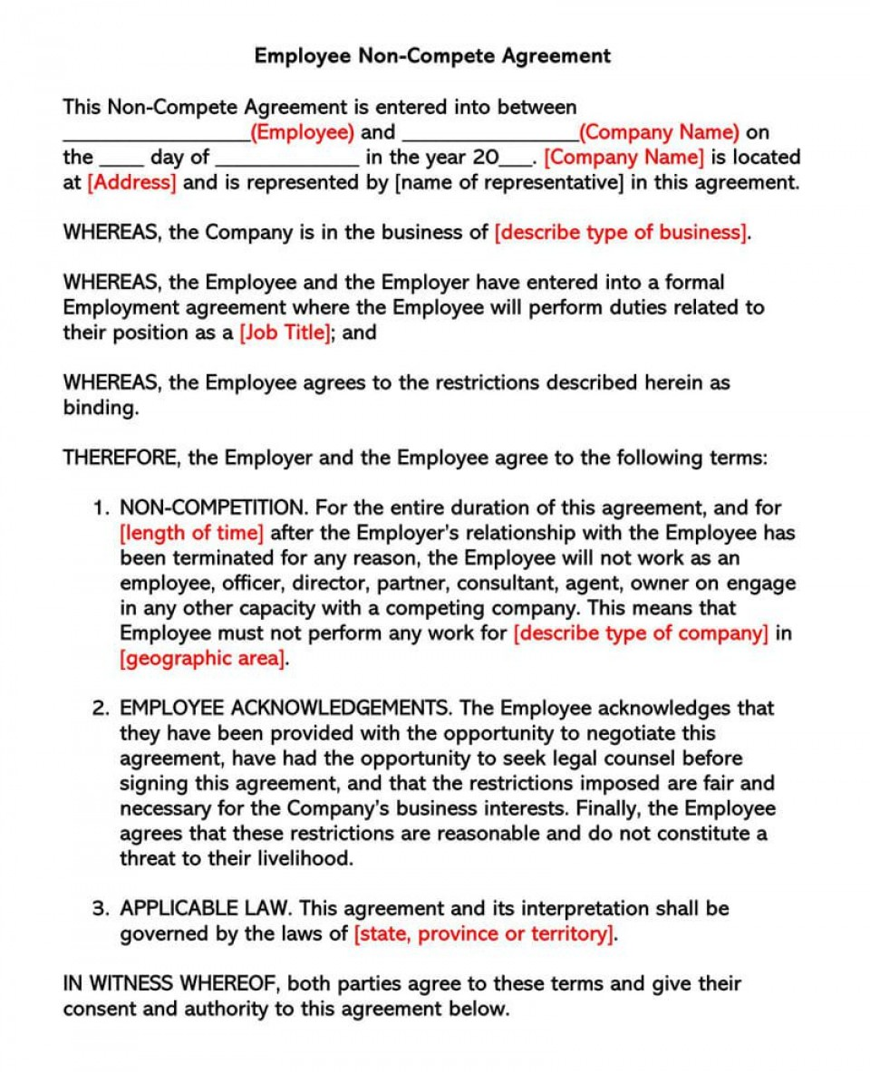 001 Remarkable Non Compete Agreement Template California Design 960