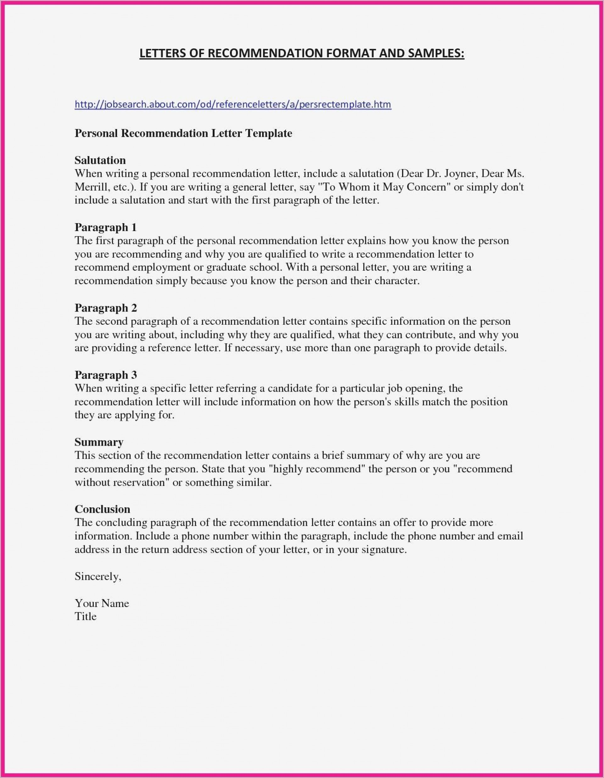 001 Remarkable Personal Letter Of Recommendation Template High Resolution  Sample Character Reference Assistant1920