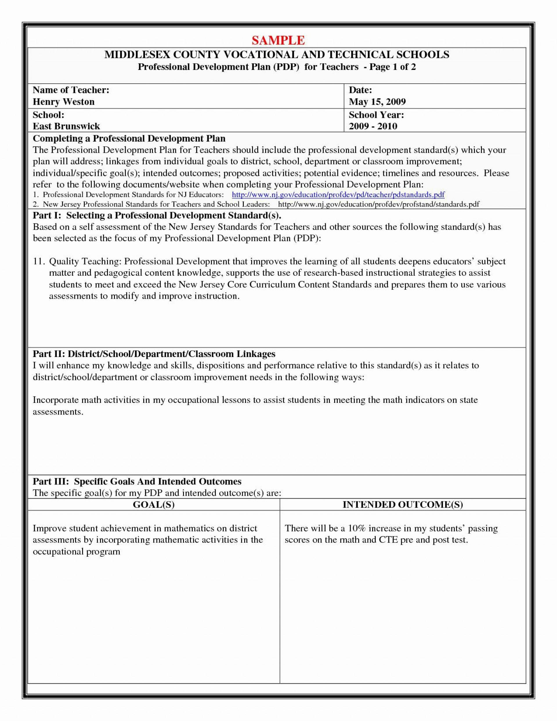 001 Remarkable Professional Development Plan For Teacher Template Doc High Def 1920