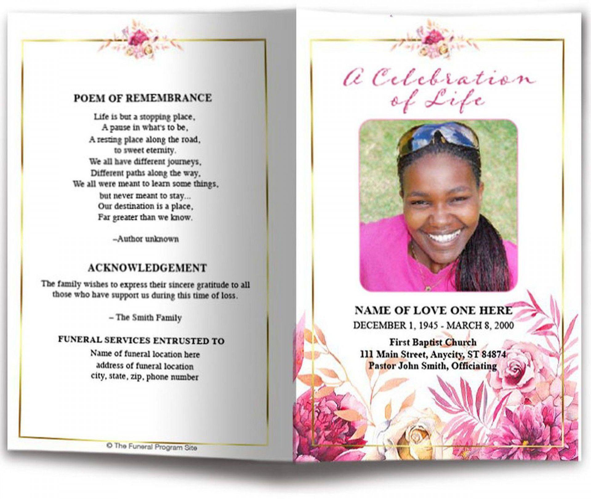 001 Remarkable Sample Template For Funeral Program Example Full