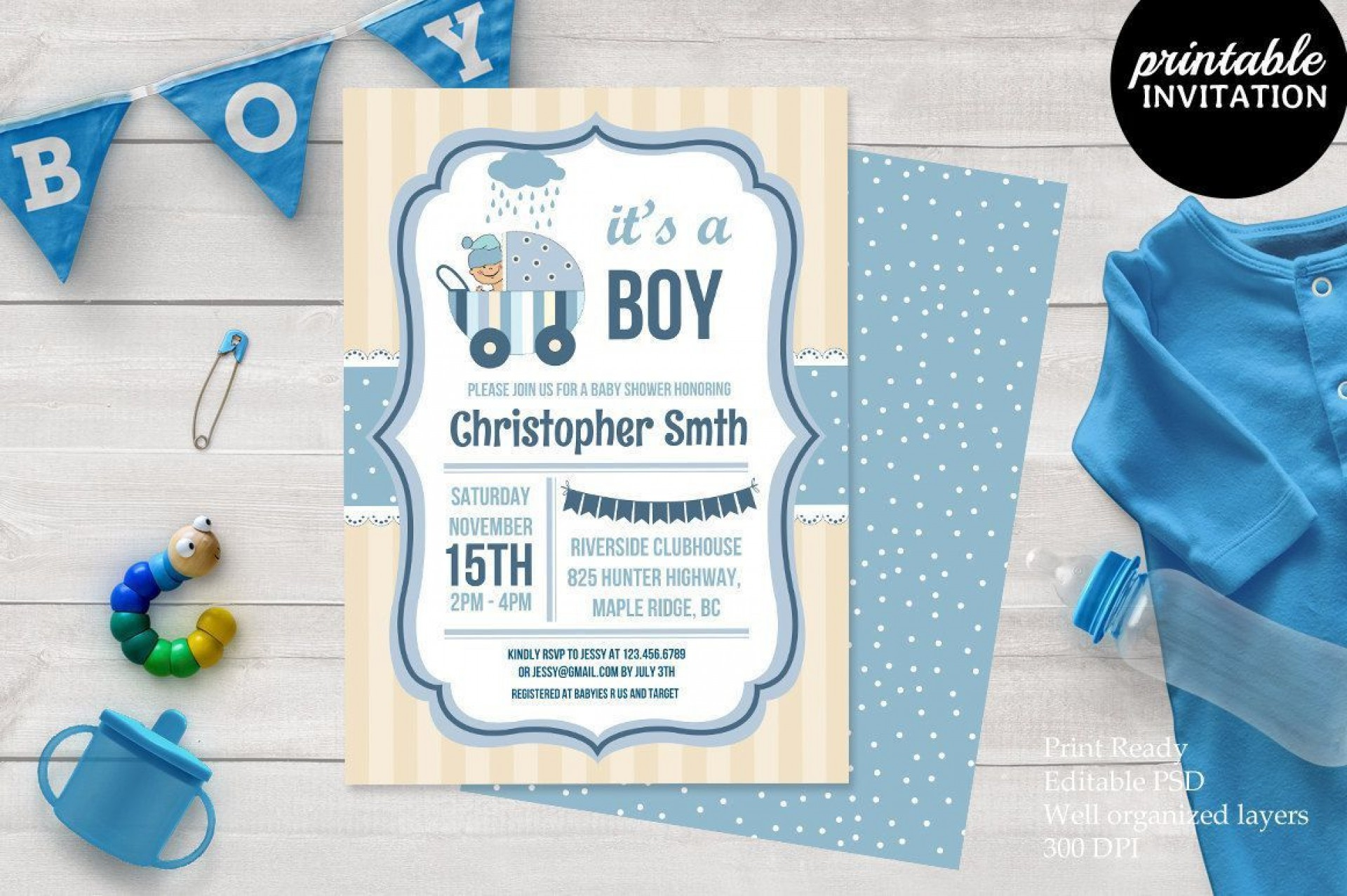 001 Sensational Baby Shower Card Template Psd High Definition 1920
