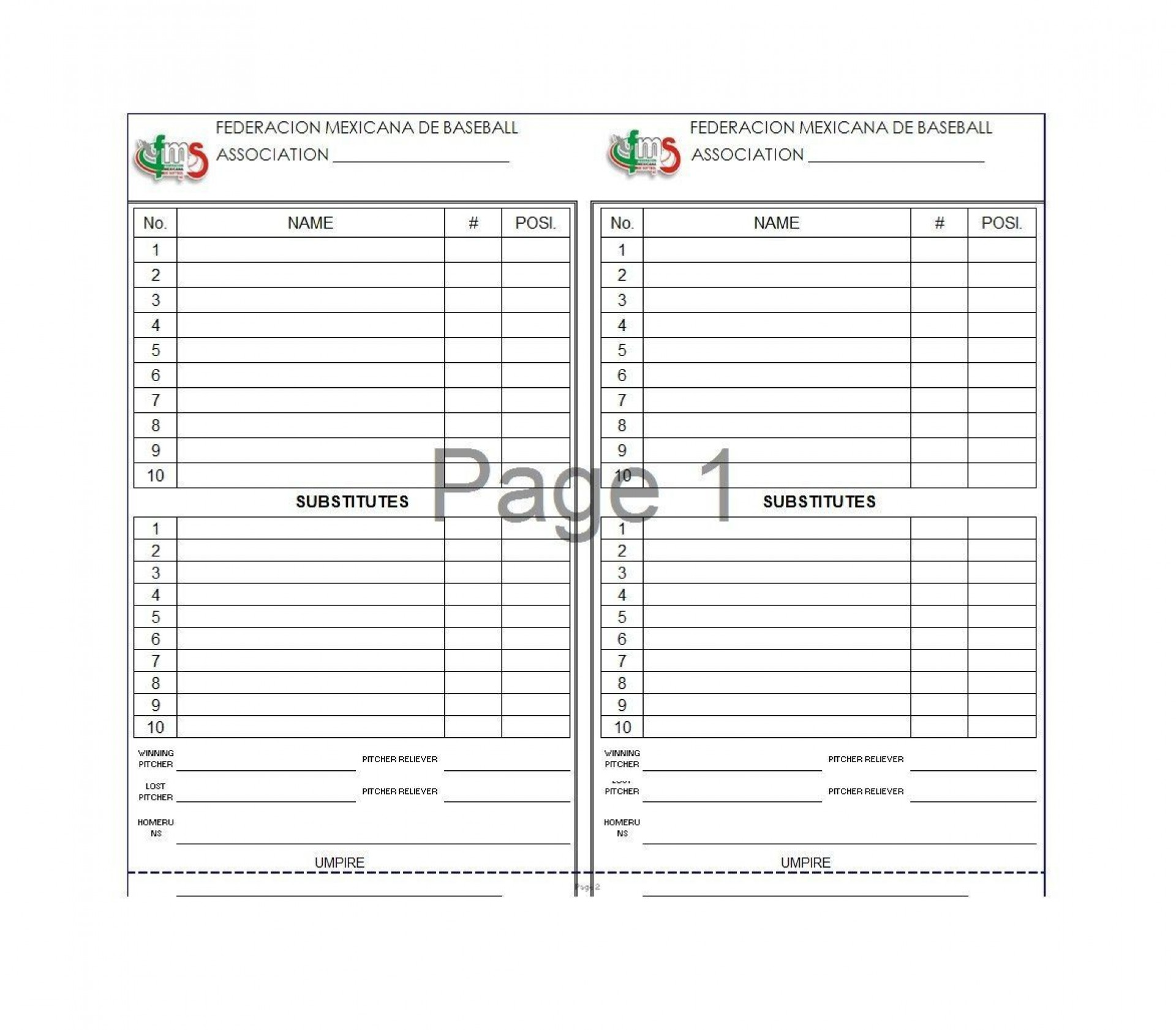 001 Sensational Baseball Lineup Card Template Example  Free Excel Dugout1920