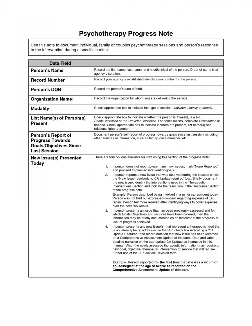 001 Sensational Counseling Progres Note Template Image  Clinical Therapy Pdf