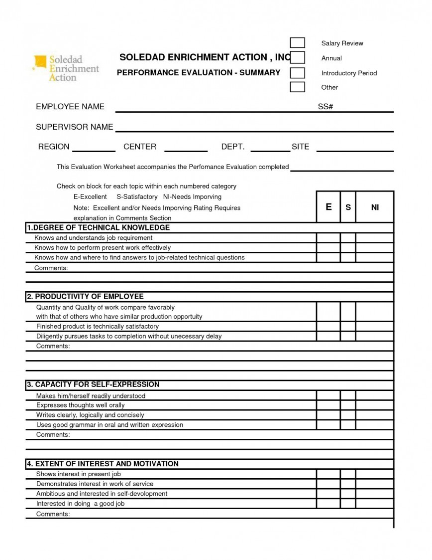 001 Sensational Employee Performance Evaluation Template High Definition  Templates Sample Comment