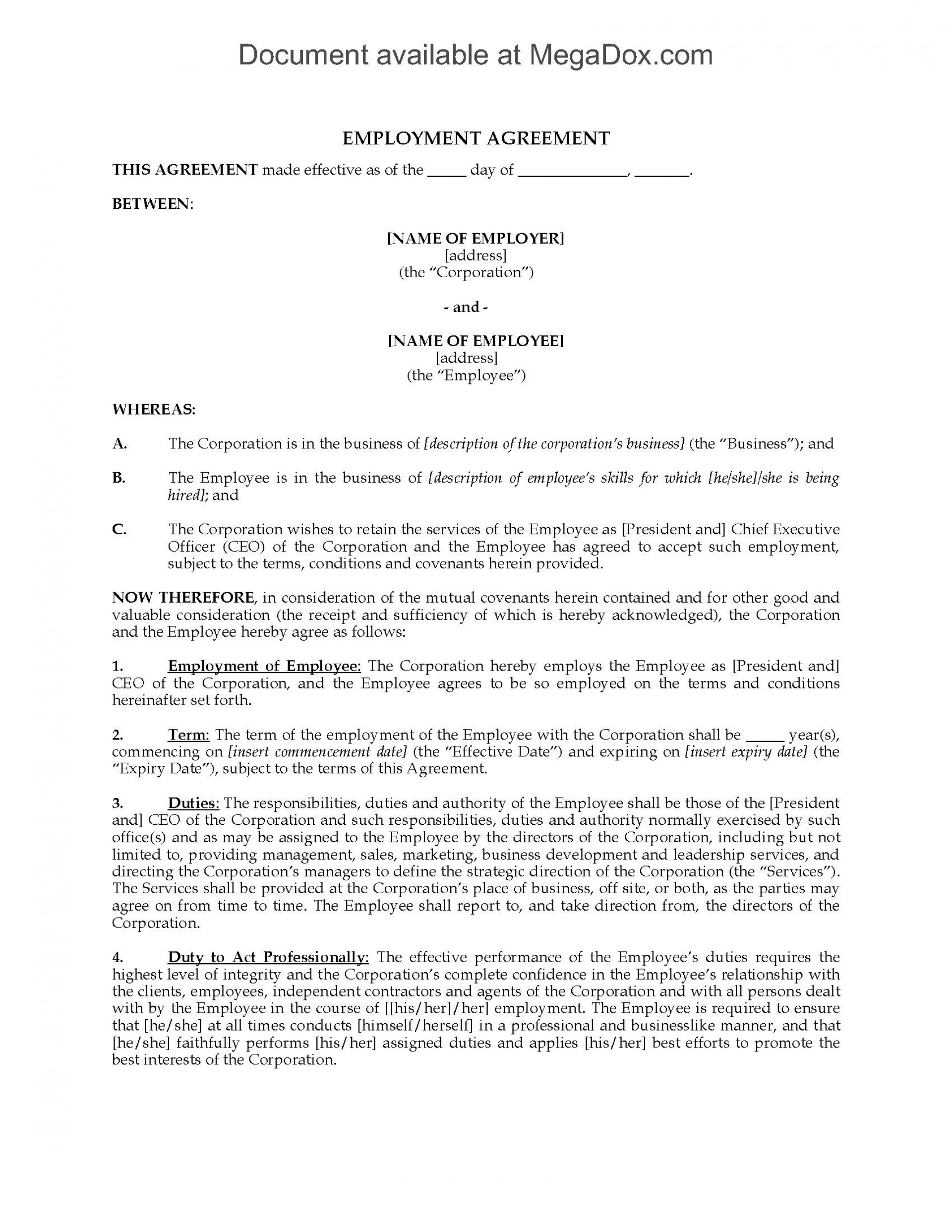 001 Sensational Free Employment Agreement Template Nz High Definition 1920