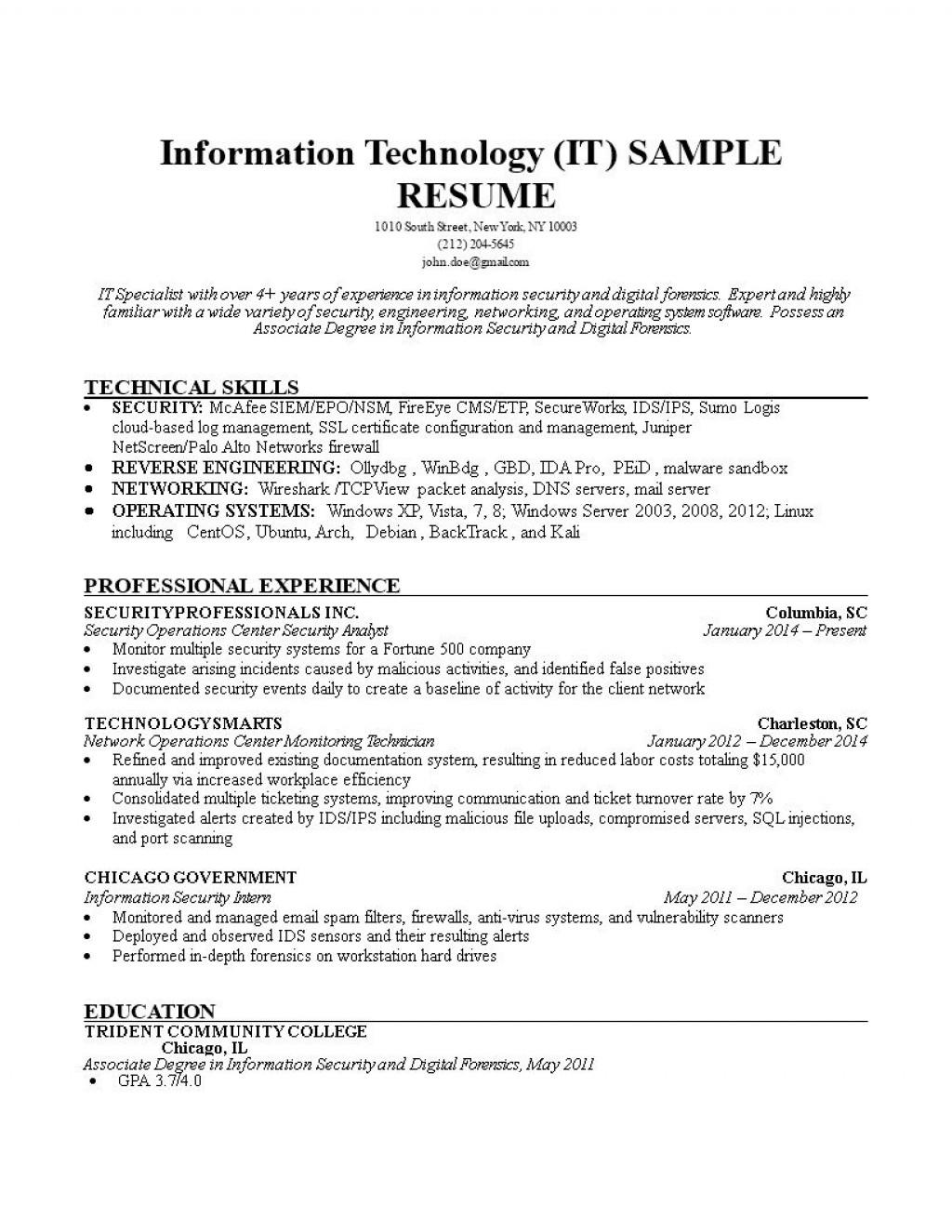 001 Sensational Information Technology Resume Template Design  Specialist Free BestLarge
