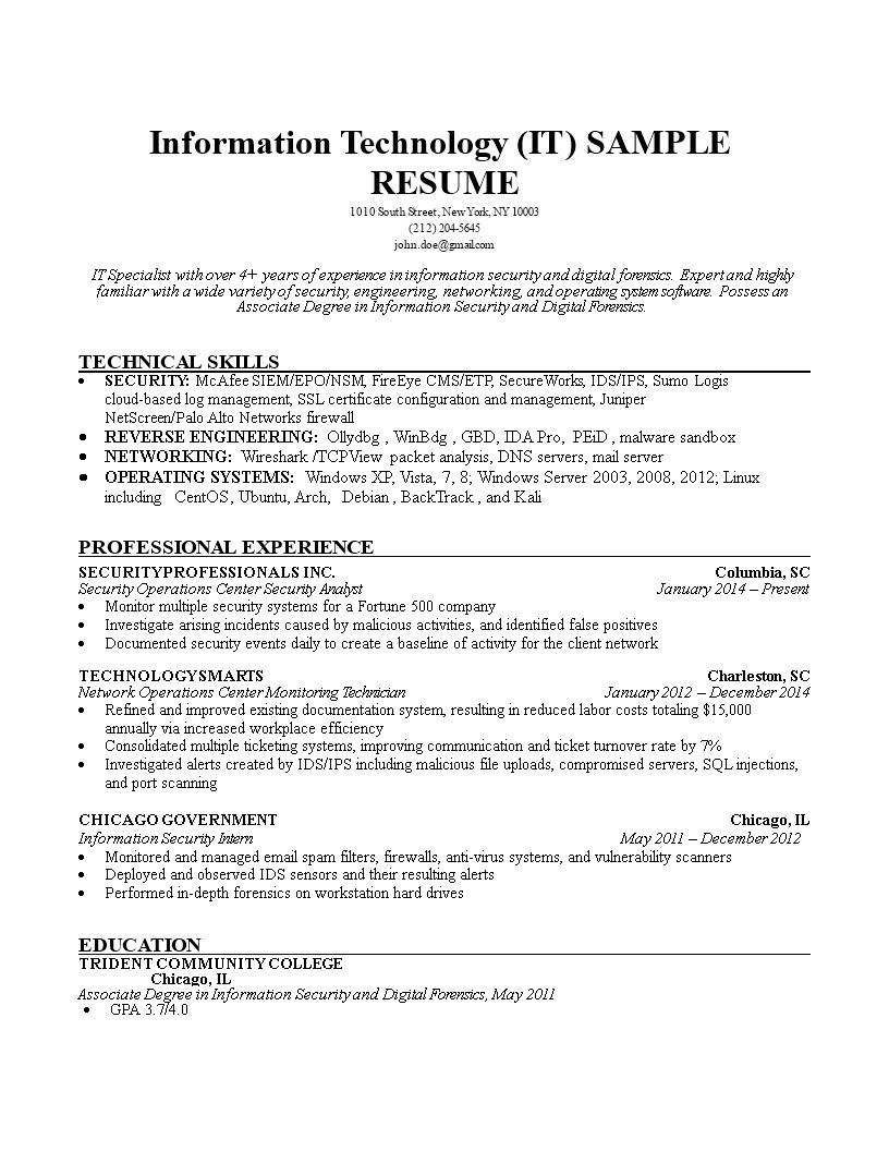 001 Sensational Information Technology Resume Template Design  Specialist Free BestFull