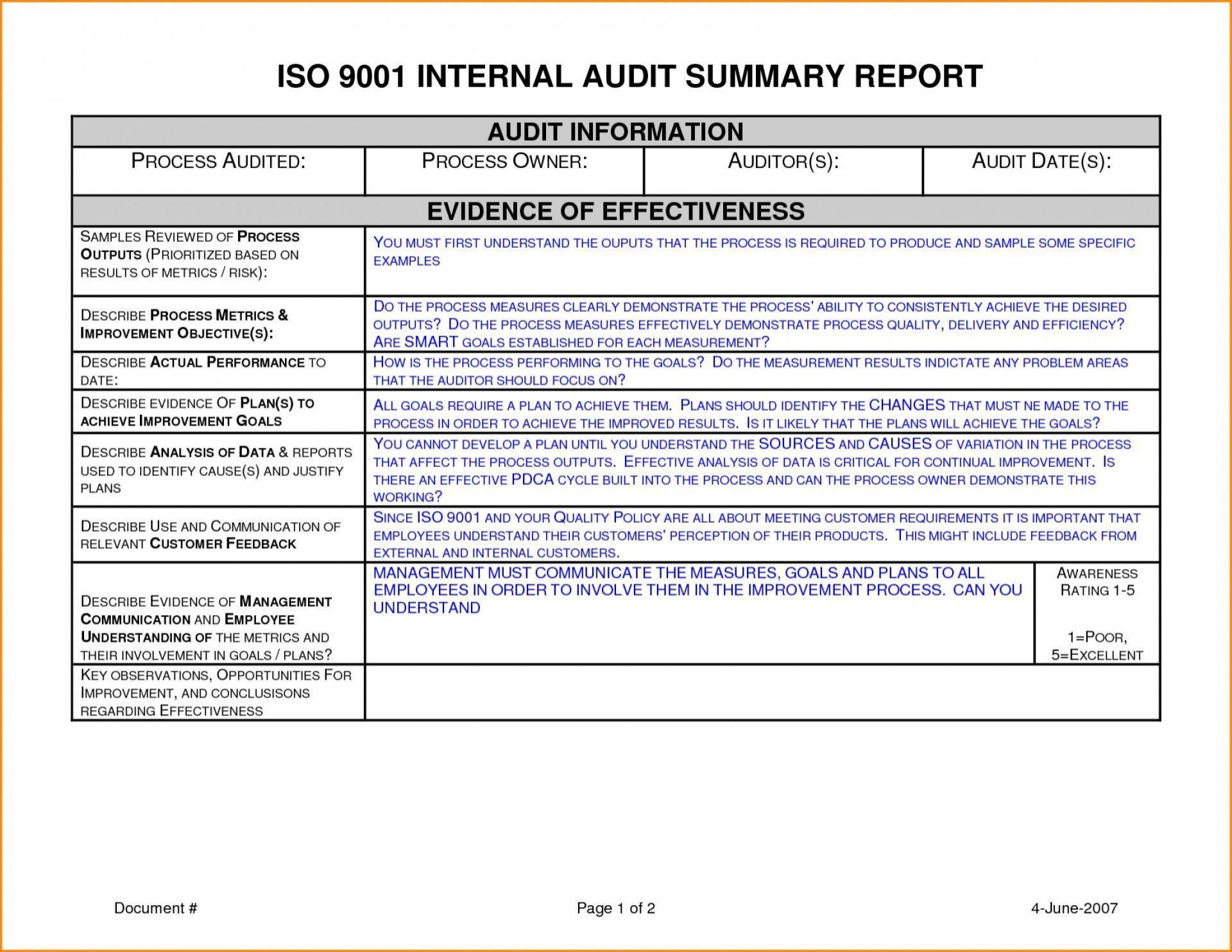 001 Sensational Internal Audit Report Template Design  Powerpoint Format In Word Download Free1920