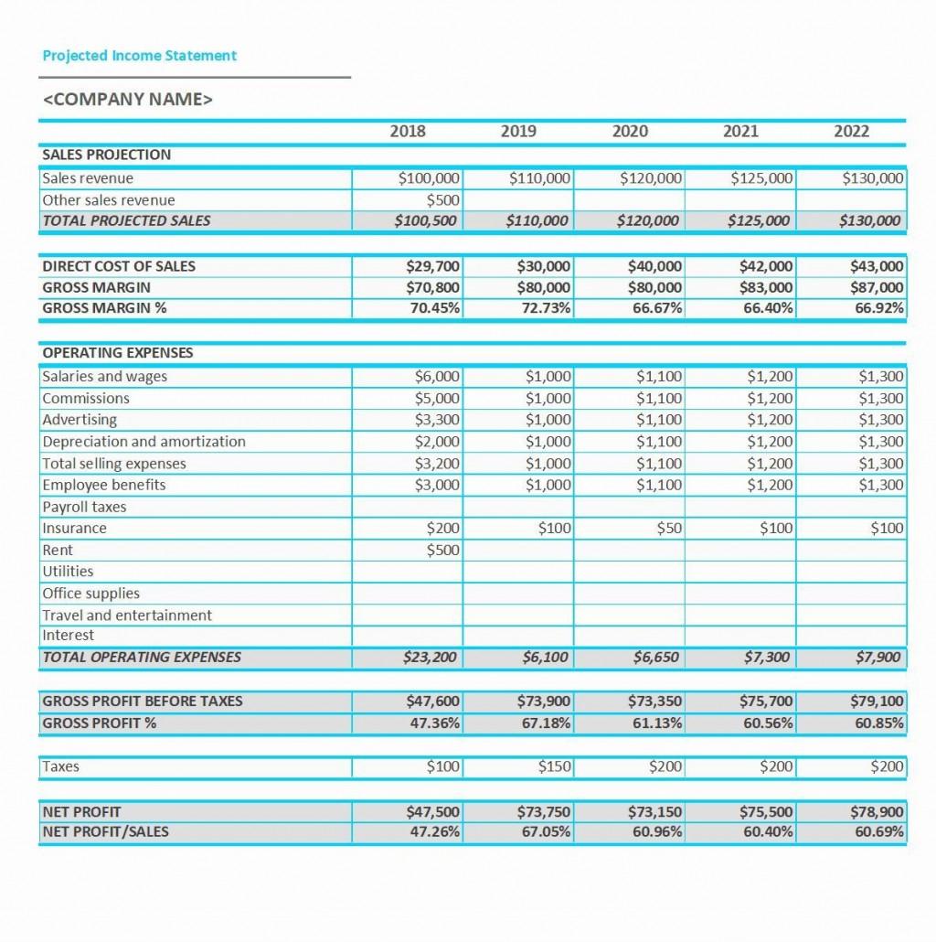 001 Sensational Projected Income Statement Excel Format Inspiration Large