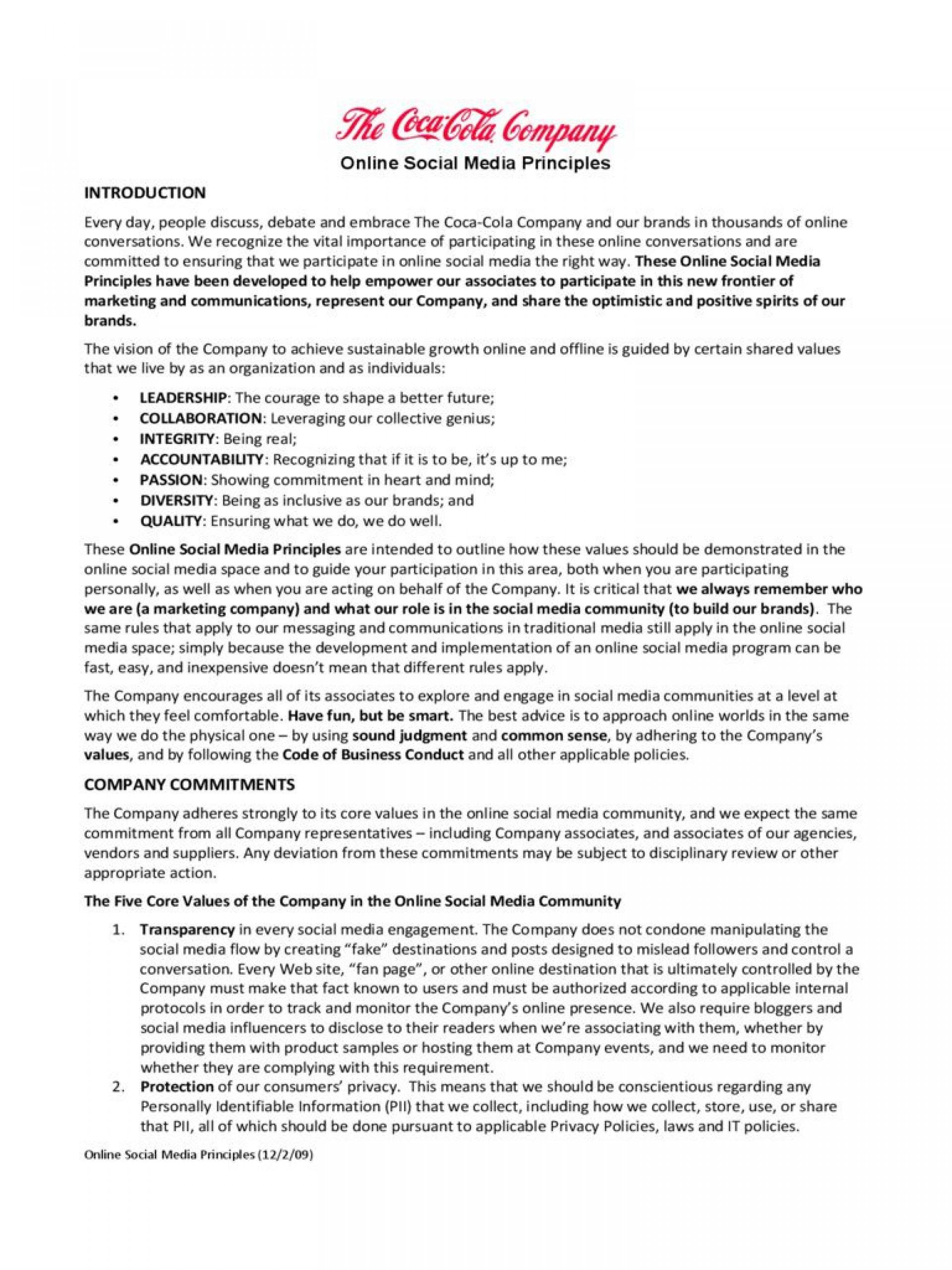 001 Sensational Social Media Policy Template Example  Nz Australia Free Uk1920