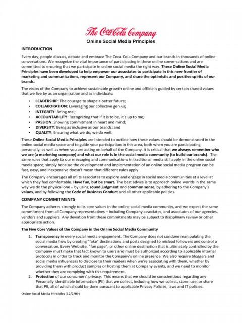 001 Sensational Social Media Policy Template Example  2020 Australia Nonprofit480