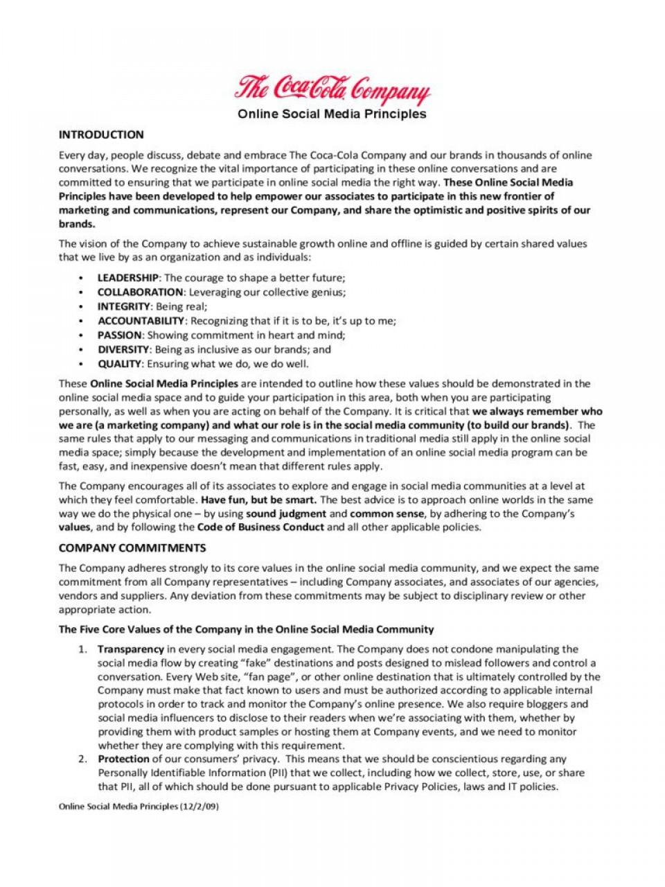 001 Sensational Social Media Policy Template Example  2020 Australia Nonprofit960