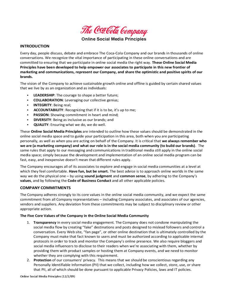 001 Sensational Social Media Policy Template Example  Nz Australia Free UkFull