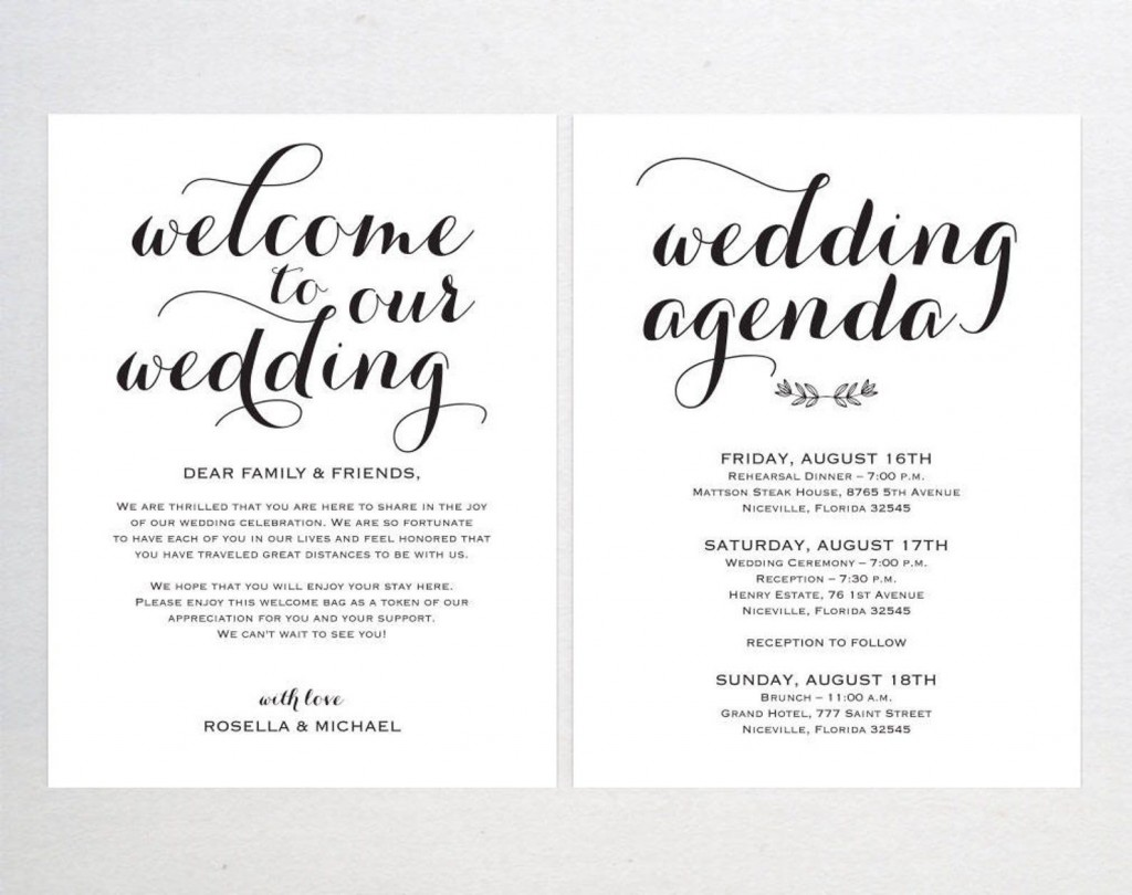 001 Sensational Wedding Welcome Bag Letter Template Free High Definition Large