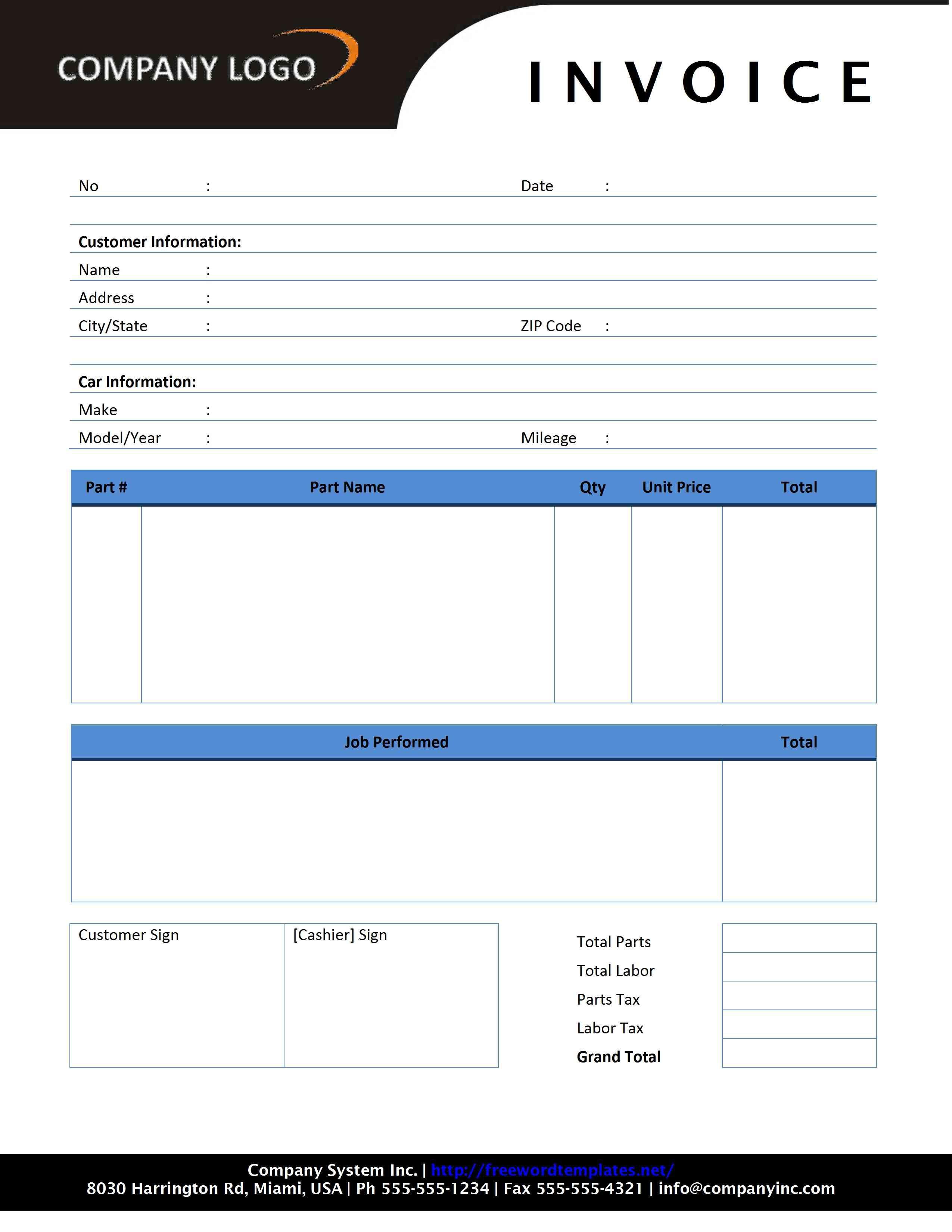001 Shocking Automotive Repair Invoice Template Design  Free Auto Pdf Car FormFull