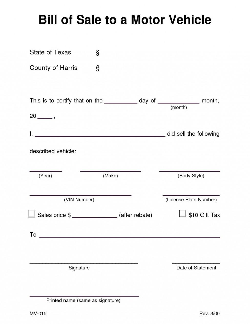 001 Shocking Bill Of Sale Template Texa Concept  Texas Free Car Form Dmv DocumentLarge