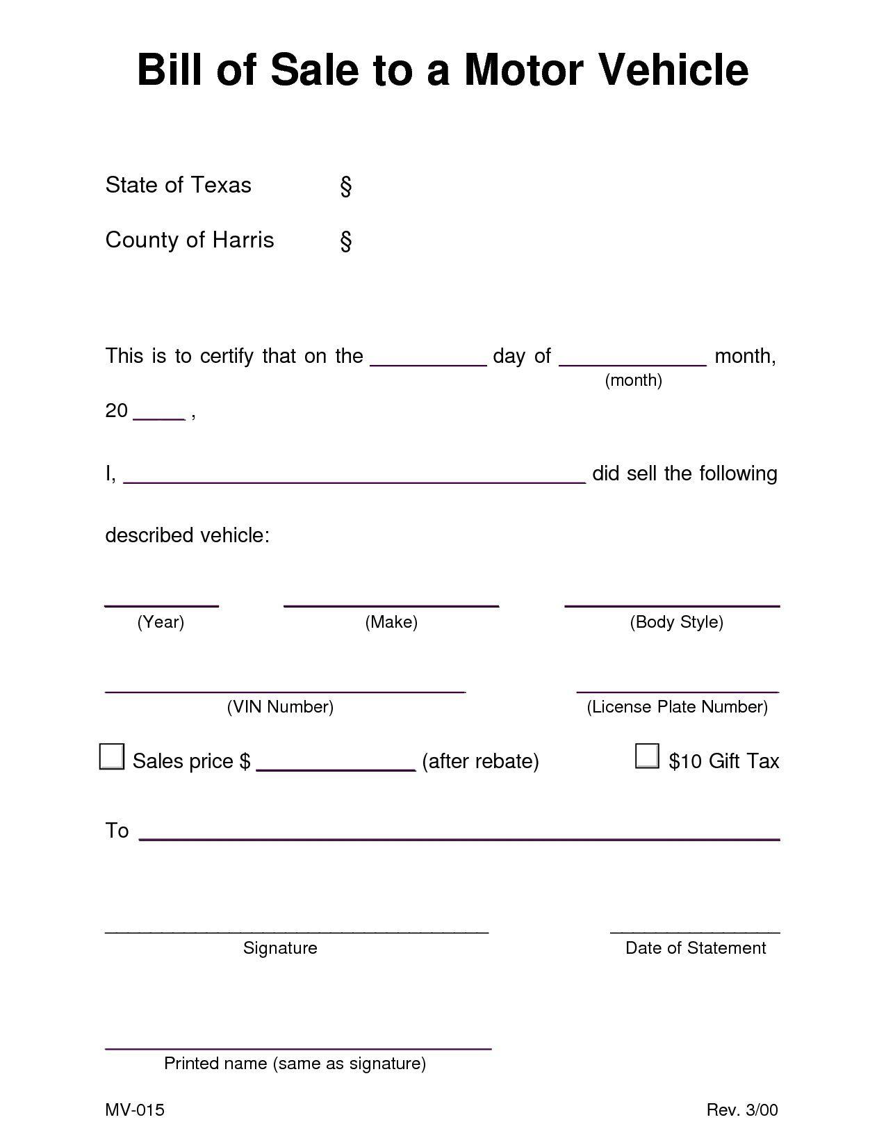 001 Shocking Bill Of Sale Template Texa Concept  Texas Free Car Form Dmv DocumentFull