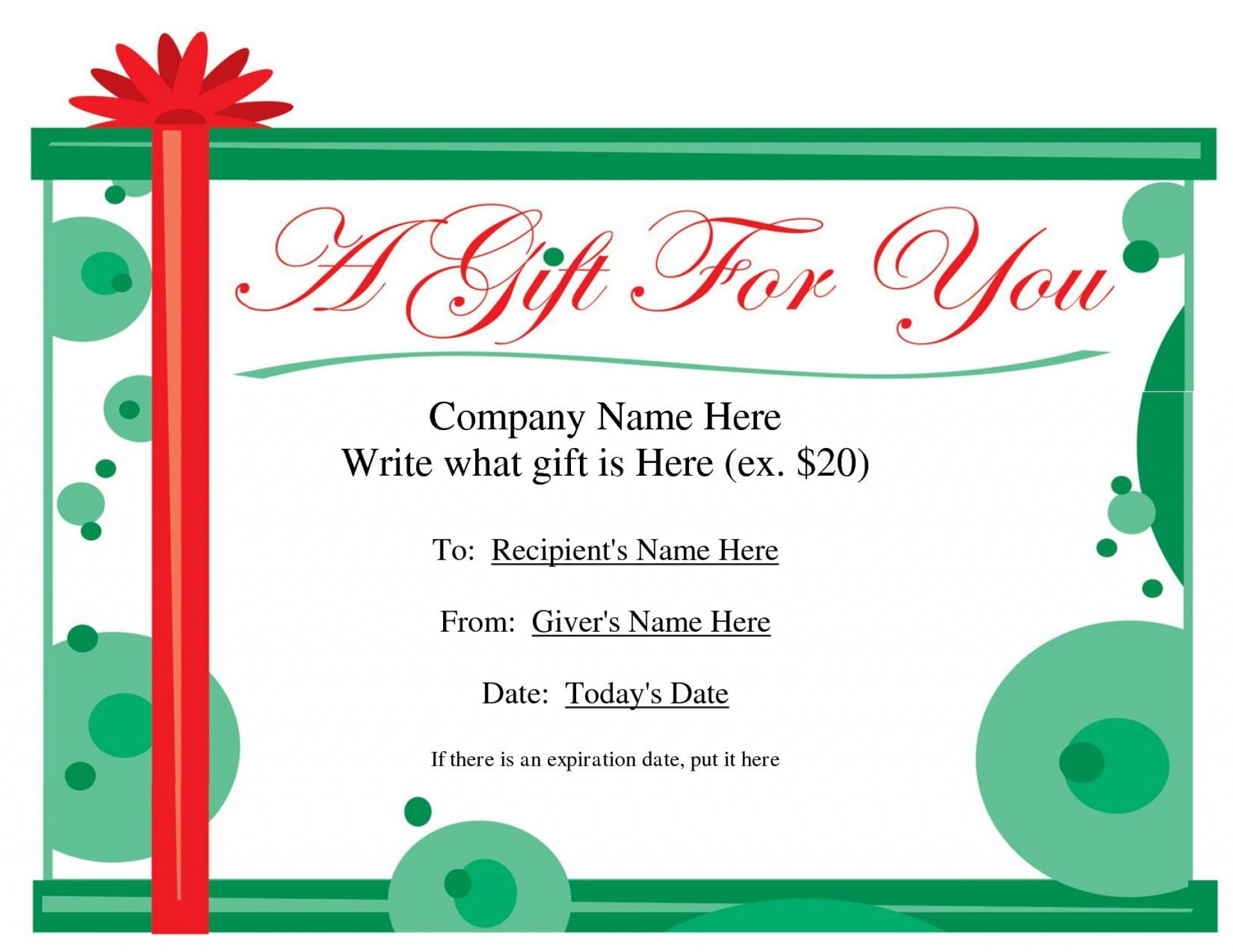 001 Shocking Blank Gift Certificate Template Example  Free Printable Downloadable1920