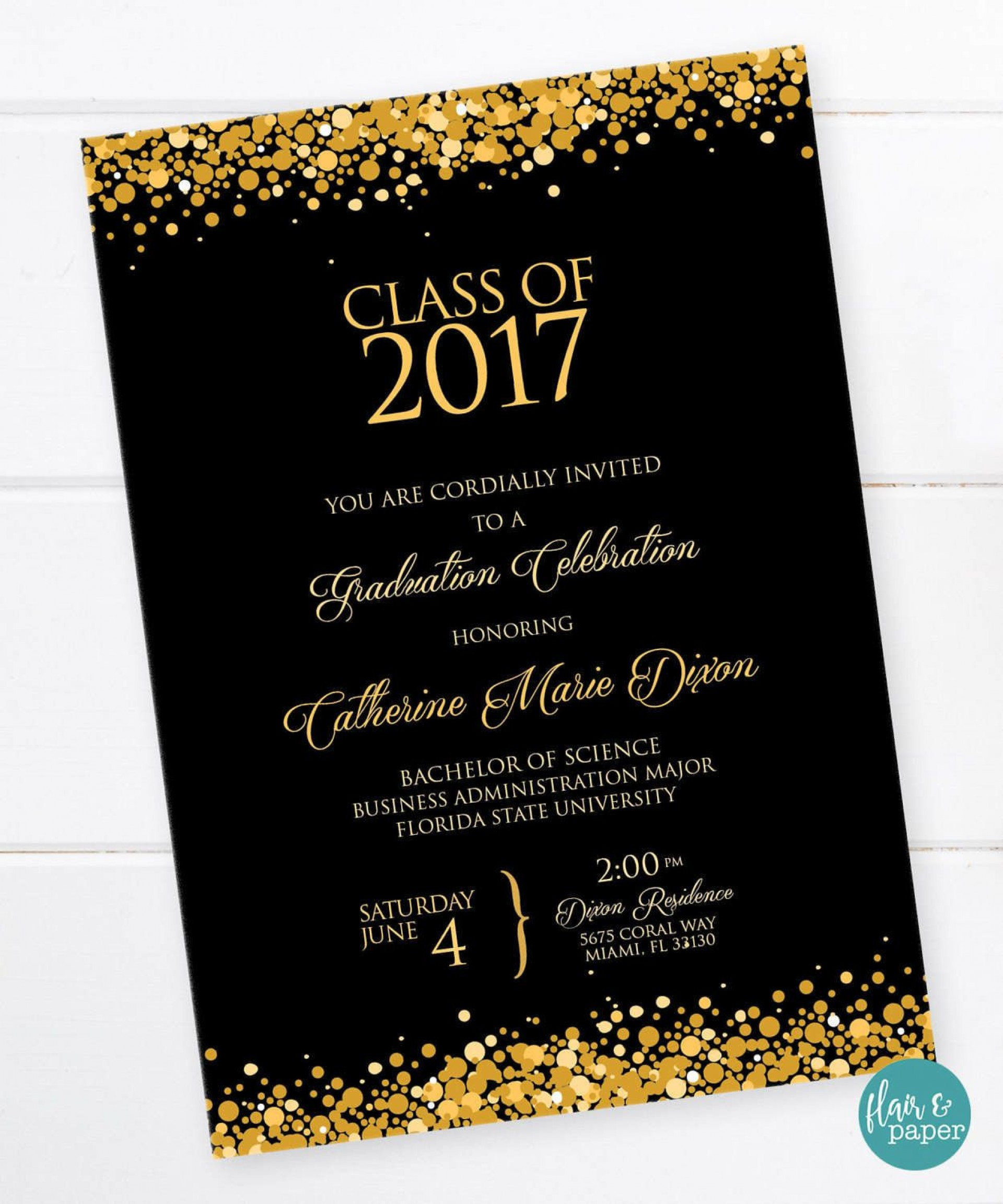 001 Shocking College Graduation Invitation Template Idea  Templates Free Party1920