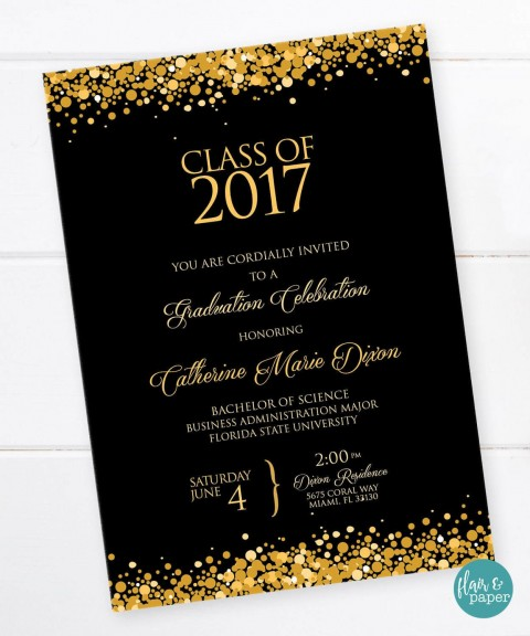 001 Shocking College Graduation Invitation Template Idea  Party Free For Word480