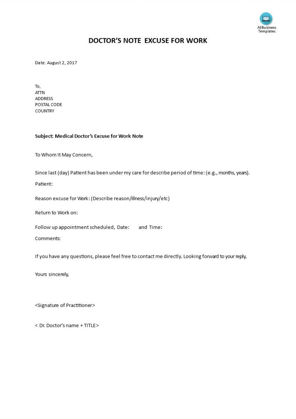 001 Shocking Doctor Note For Work Template High Definition  Doctor' Missing Excuse PdfLarge