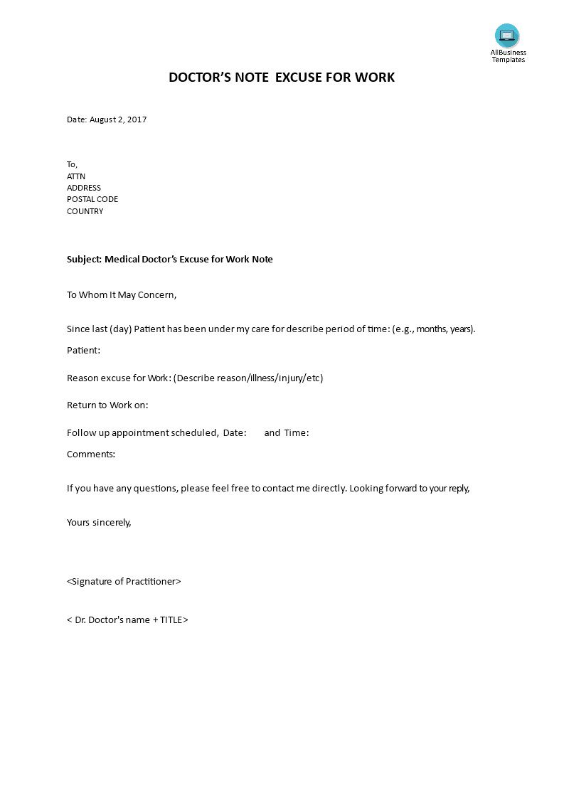 001 Shocking Doctor Note For Work Template High Definition  Doctor' Missing Excuse PdfFull