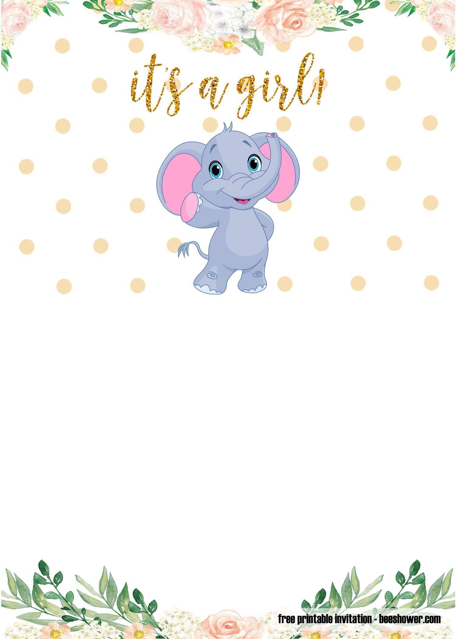 001 Shocking Elephant Baby Shower Invitation Template Concept  Templates Free Pdf BoyFull