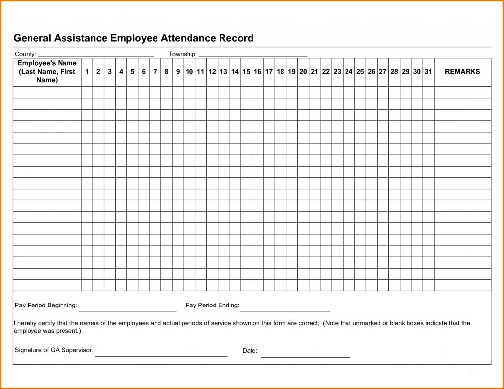 001 Shocking Employee Attendance Record Template Excel Idea  Free Download With TimeLarge